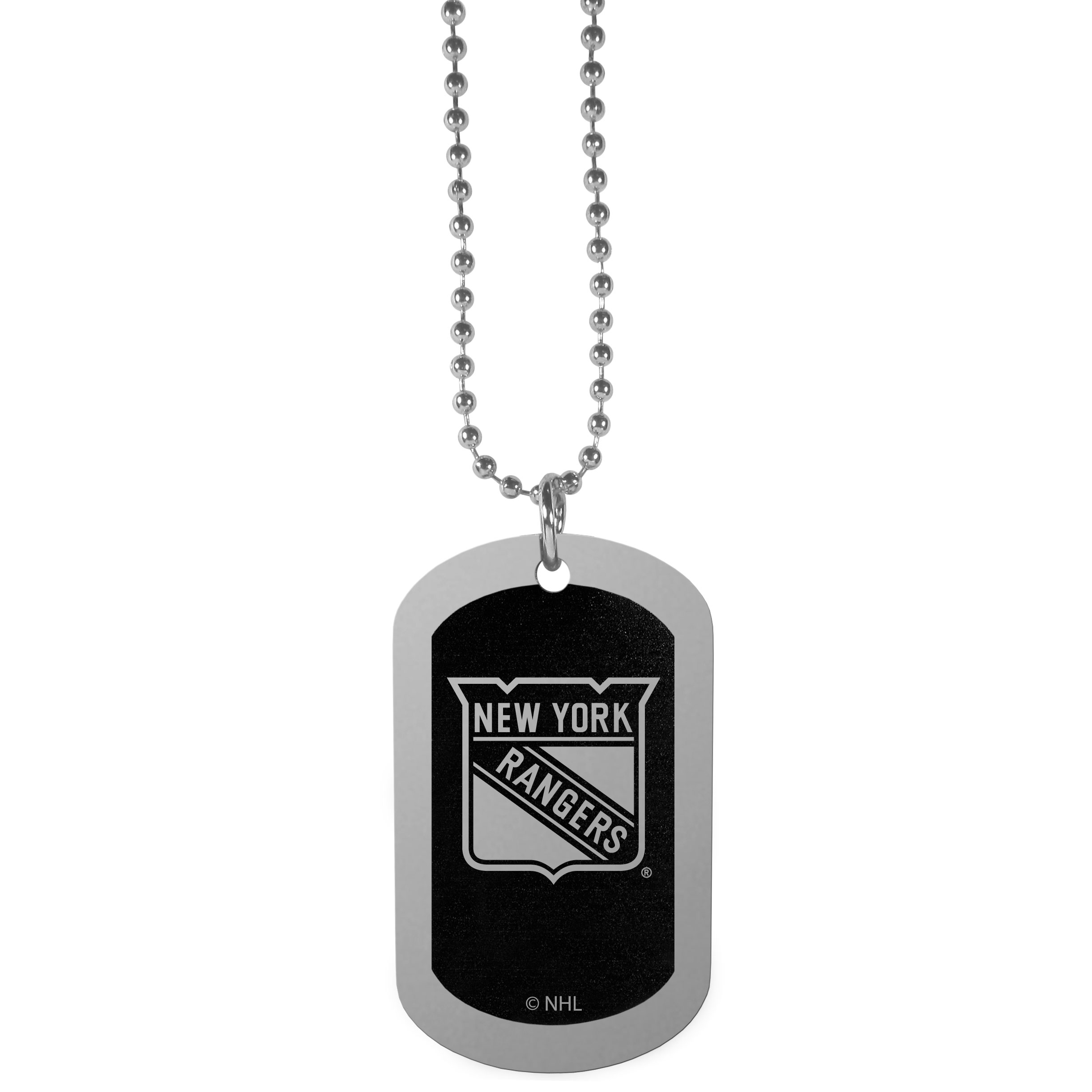 New York Rangers® Chrome Tag Necklace - Dog tag necklaces are a fashion statement that is here to stay. The sporty version of the classic tag features a black printed over a high polish tag to create a bold and sporty look. The tag comes on a 26 inch ball chain with a ball and joint clasp. Any New York Rangers® would be proud to wear this attractive fashion accessory.