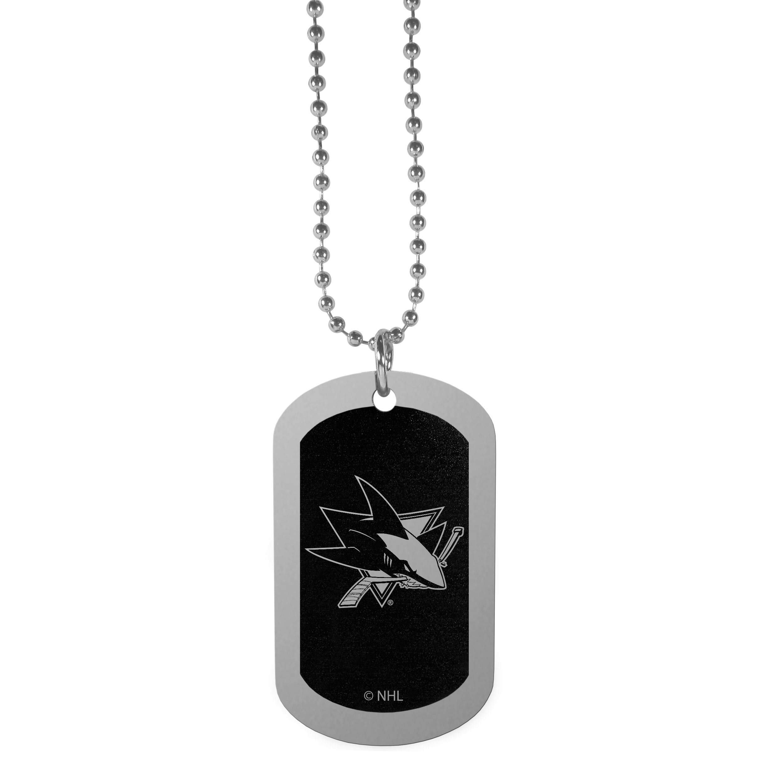 San Jose Sharks® Chrome Tag Necklace - Dog tag necklaces are a fashion statement that is here to stay. The sporty version of the classic tag features a black printed over a high polish tag to create a bold and sporty look. The tag comes on a 26 inch ball chain with a ball and joint clasp. Any San Jose Sharks® would be proud to wear this attractive fashion accessory.