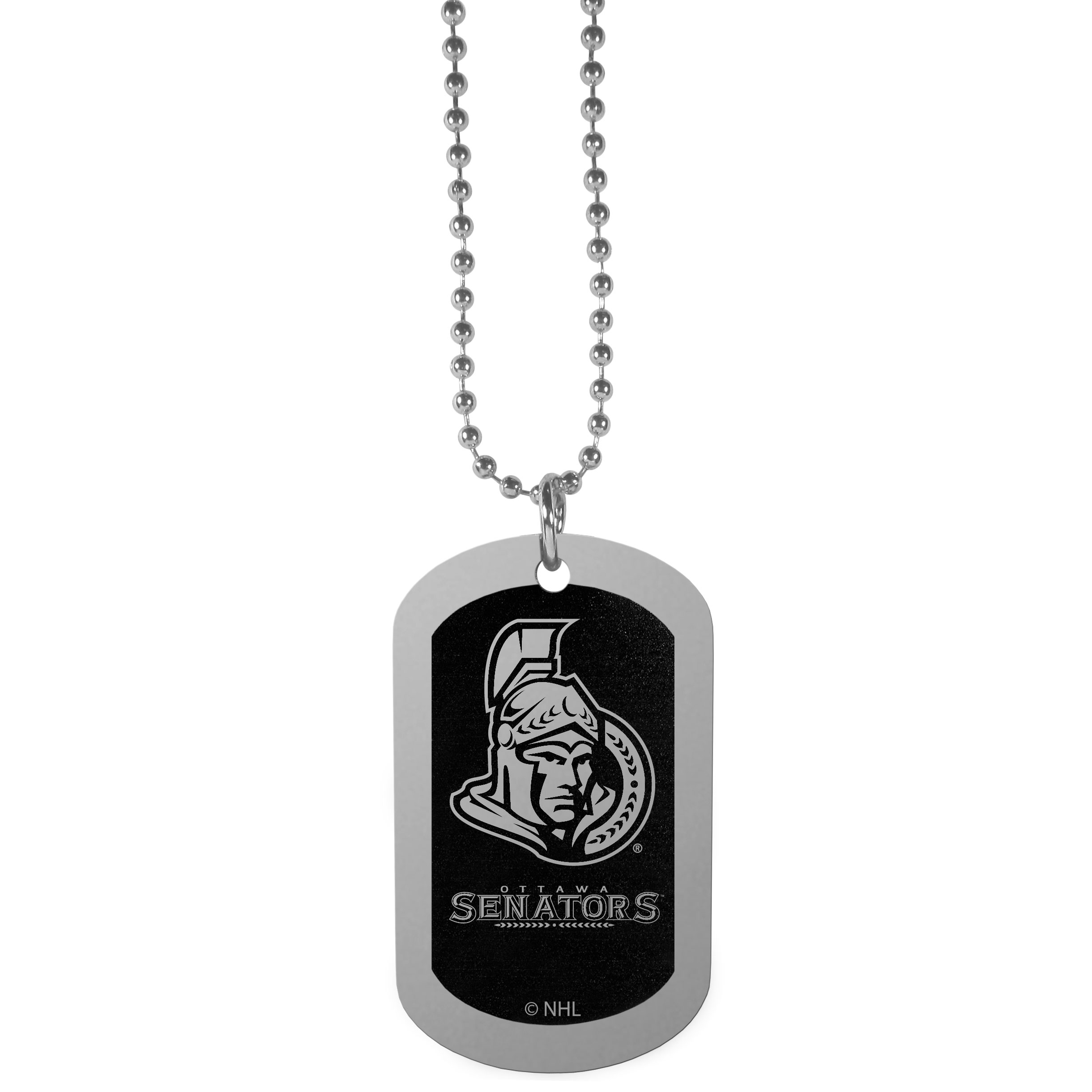 Ottawa Senators® Chrome Tag Necklace - Dog tag necklaces are a fashion statement that is here to stay. The sporty version of the classic tag features a black printed over a high polish tag to create a bold and sporty look. The tag comes on a 26 inch ball chain with a ball and joint clasp. Any Ottawa Senators® would be proud to wear this attractive fashion accessory.