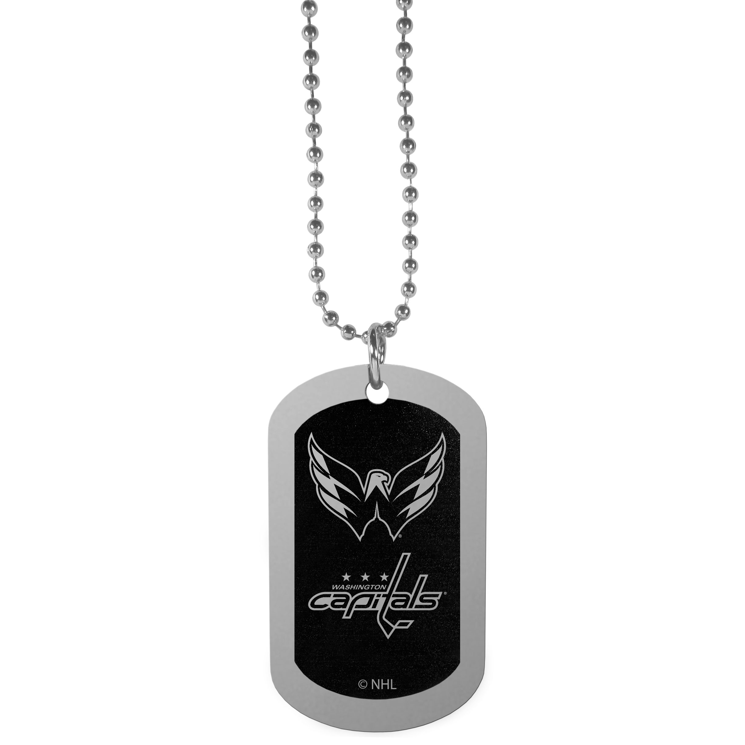 Washington Capitals® Chrome Tag Necklace - Dog tag necklaces are a fashion statement that is here to stay. The sporty version of the classic tag features a black printed over a high polish tag to create a bold and sporty look. The tag comes on a 26 inch ball chain with a ball and joint clasp. Any Washington Capitals® would be proud to wear this attractive fashion accessory.