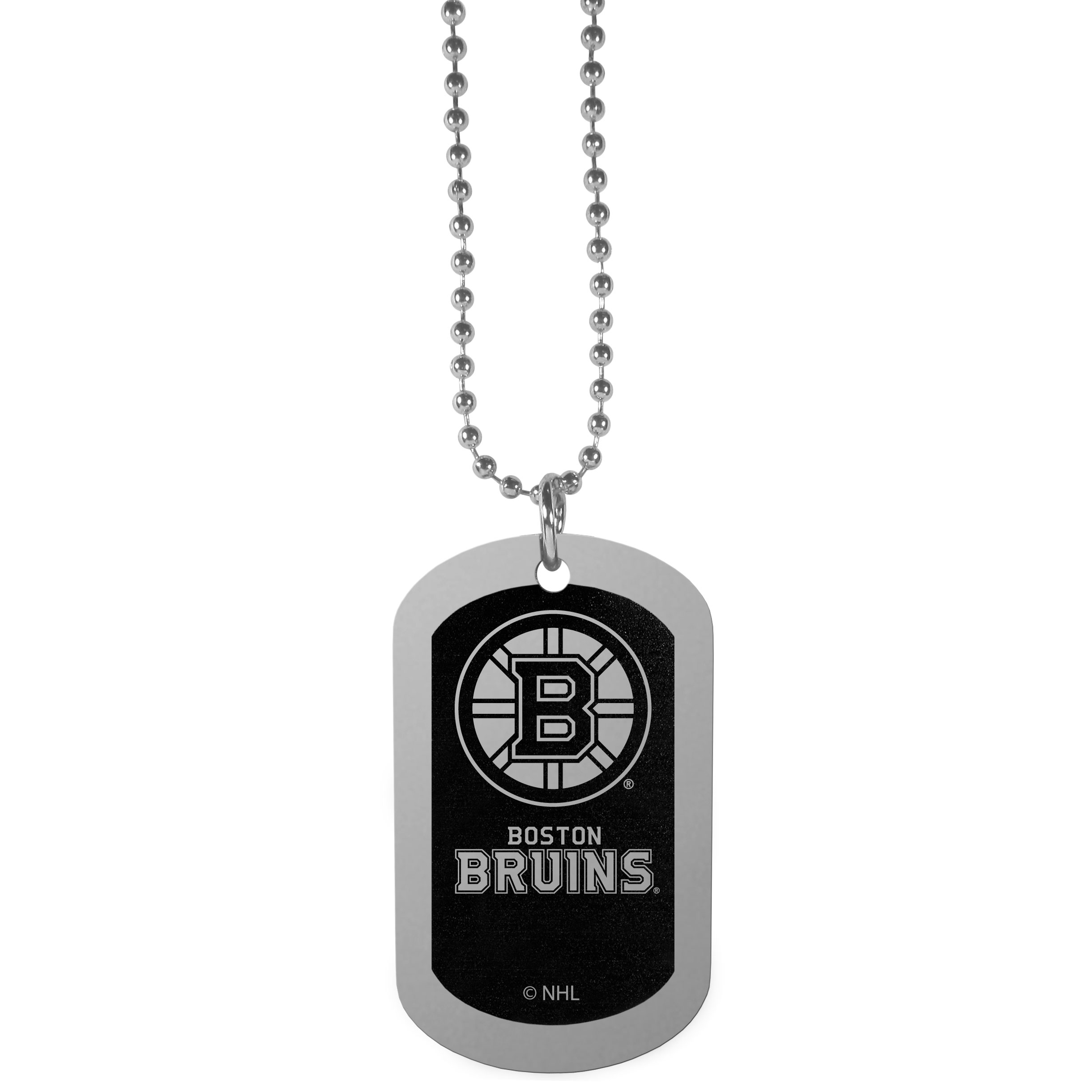 Boston Bruins® Chrome Tag Necklace - Dog tag necklaces are a fashion statement that is here to stay. The sporty version of the classic tag features a black printed over a high polish tag to create a bold and sporty look. The tag comes on a 26 inch ball chain with a ball and joint clasp. Any Boston Bruins® would be proud to wear this attractive fashion accessory.
