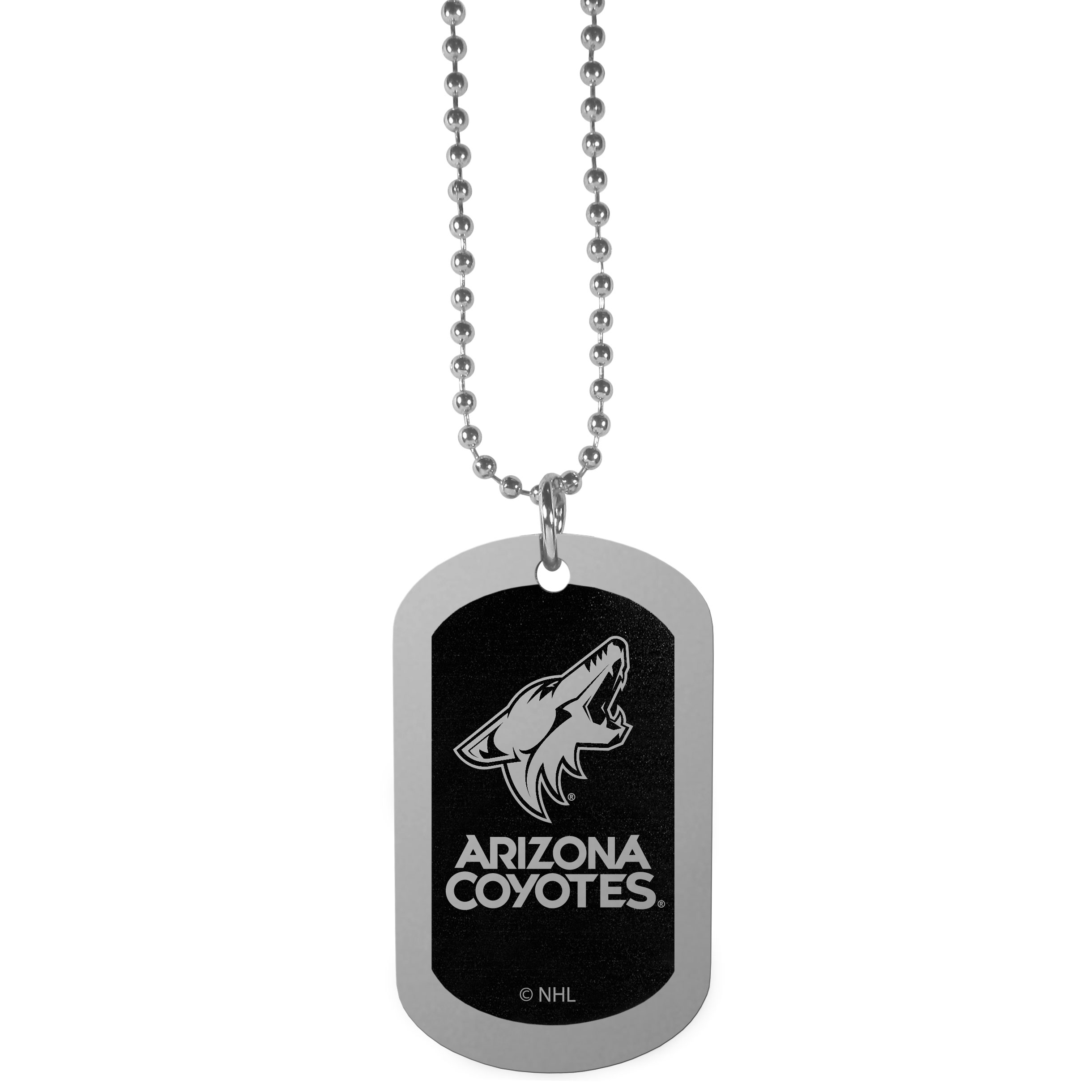 Arizona Coyotes® Chrome Tag Necklace - Dog tag necklaces are a fashion statement that is here to stay. The sporty version of the classic tag features a black printed over a high polish tag to create a bold and sporty look. The tag comes on a 26 inch ball chain with a ball and joint clasp. Any Arizona Coyotes® would be proud to wear this attractive fashion accessory.