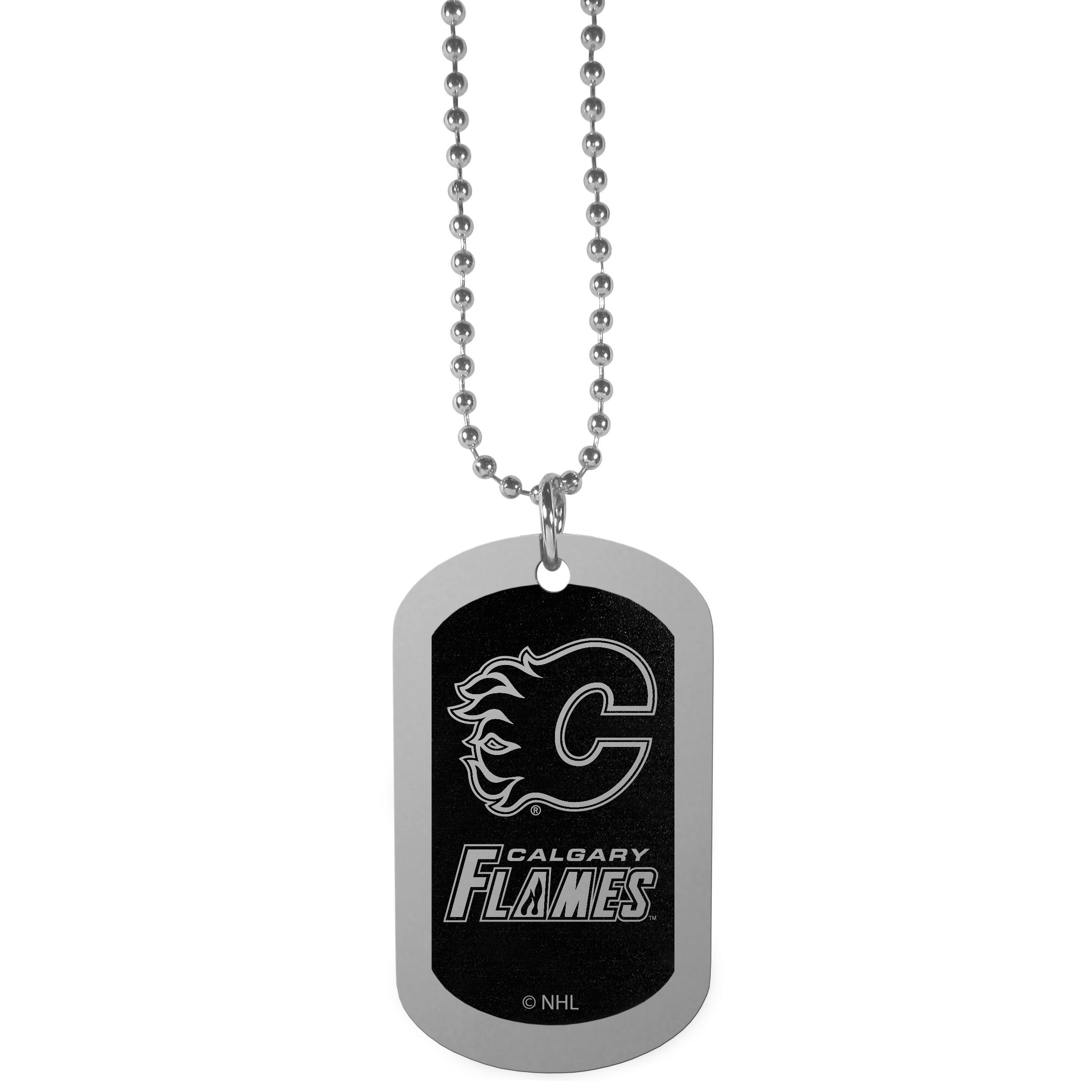 Calgary Flames® Chrome Tag Necklace - Dog tag necklaces are a fashion statement that is here to stay. The sporty version of the classic tag features a black printed over a high polish tag to create a bold and sporty look. The tag comes on a 26 inch ball chain with a ball and joint clasp. Any Calgary Flames® would be proud to wear this attractive fashion accessory.