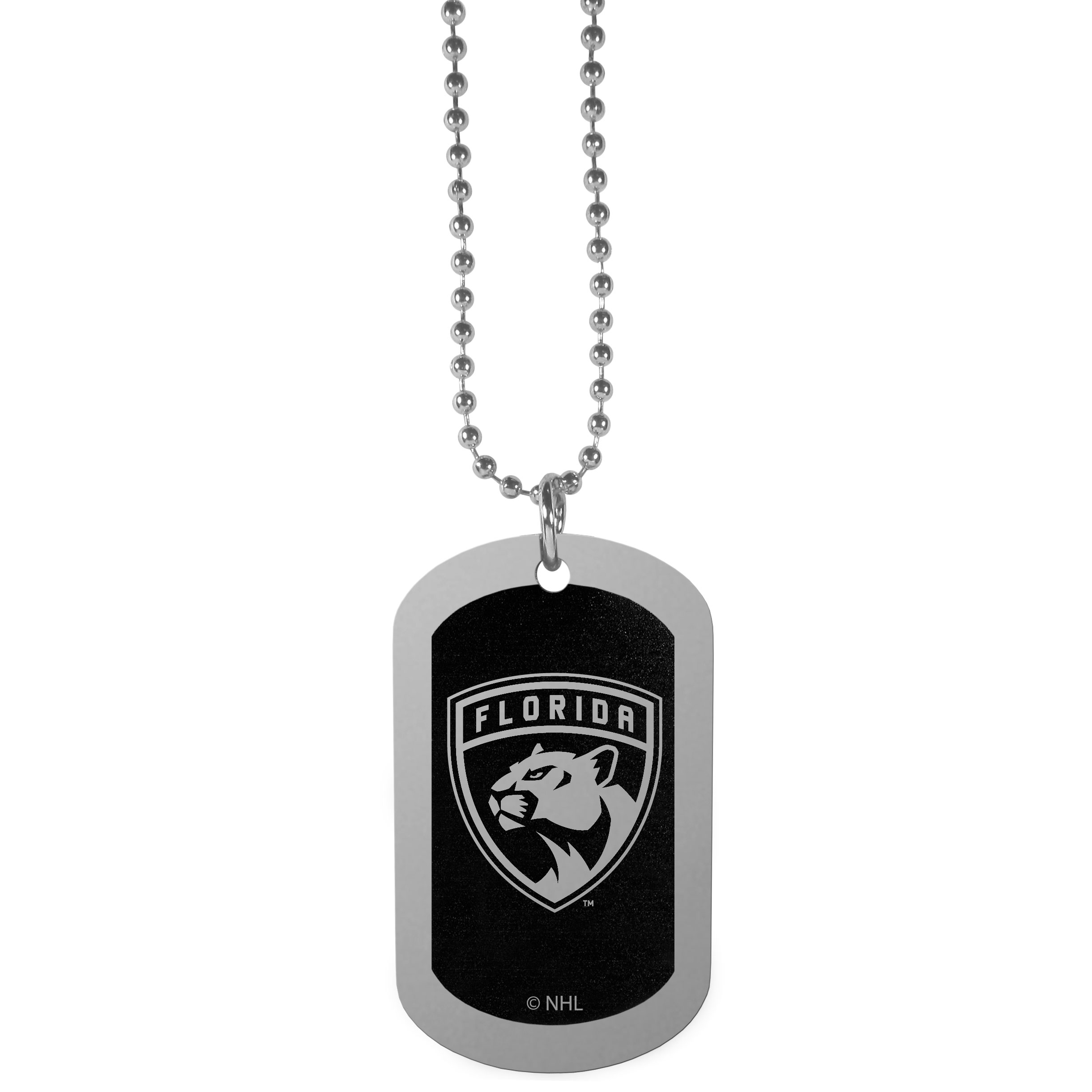 Florida Panthers® Chrome Tag Necklace - Dog tag necklaces are a fashion statement that is here to stay. The sporty version of the classic tag features a black printed over a high polish tag to create a bold and sporty look. The tag comes on a 26 inch ball chain with a ball and joint clasp. Any Florida Panthers® would be proud to wear this attractive fashion accessory.