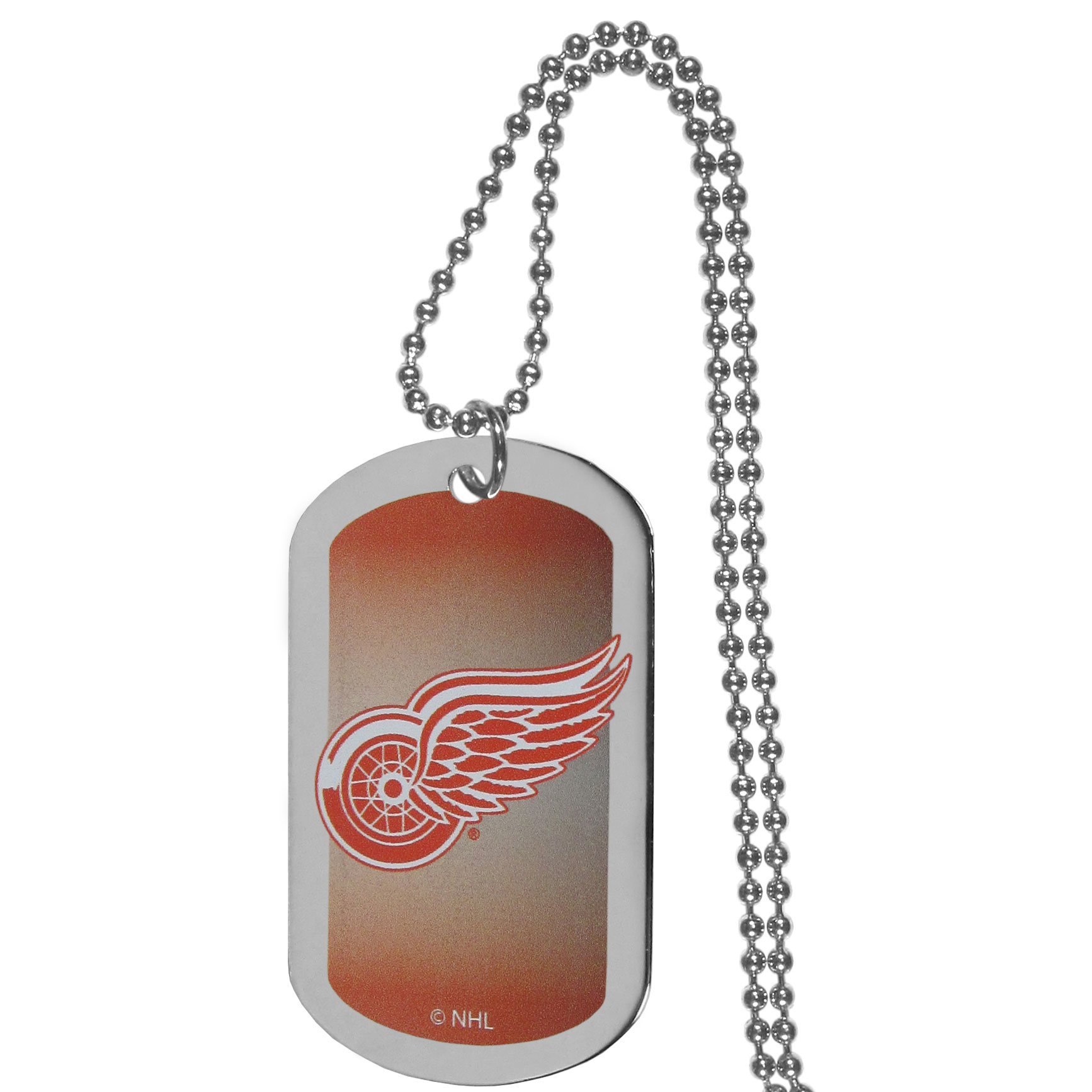 Detroit Red Wings® Team Tag Necklace - Dog tag necklaces are a fashion statement that is here to stay. The sporty version of the classic tag features a gradient print in team colors featuring a full color team logo over a high polish tag to create a bold and sporty look. The tag comes on a 26 inch ball chain with a ball and joint clasp. Any Detroit Red Wings® would be proud to wear this attractive fashion accessory.