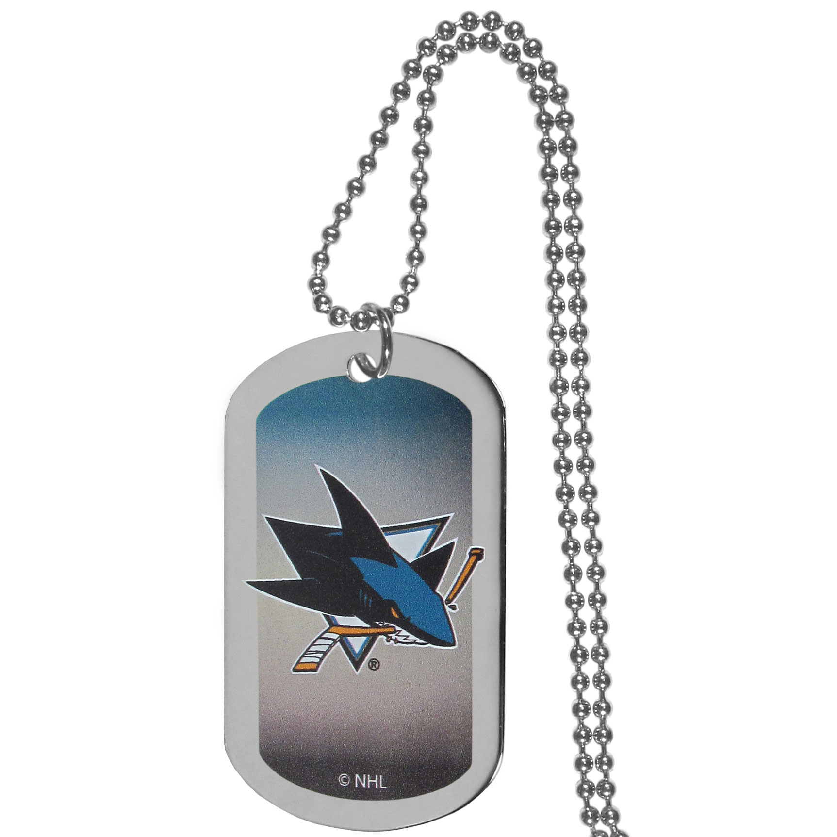 San Jose Sharks® Team Tag Necklace - Dog tag necklaces are a fashion statement that is here to stay. The sporty version of the classic tag features a gradient print in team colors featuring a full color team logo over a high polish tag to create a bold and sporty look. The tag comes on a 26 inch ball chain with a ball and joint clasp. Any San Jose Sharks® would be proud to wear this attractive fashion accessory.
