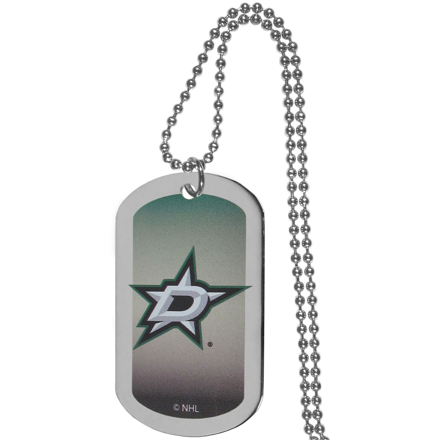 Dallas Stars™ Team Tag Necklace - Dog tag necklaces are a fashion statement that is here to stay. The sporty version of the classic tag features a gradient print in team colors featuring a full color team logo over a high polish tag to create a bold and sporty look. The tag comes on a 26 inch ball chain with a ball and joint clasp. Any Dallas Stars™ would be proud to wear this attractive fashion accessory.