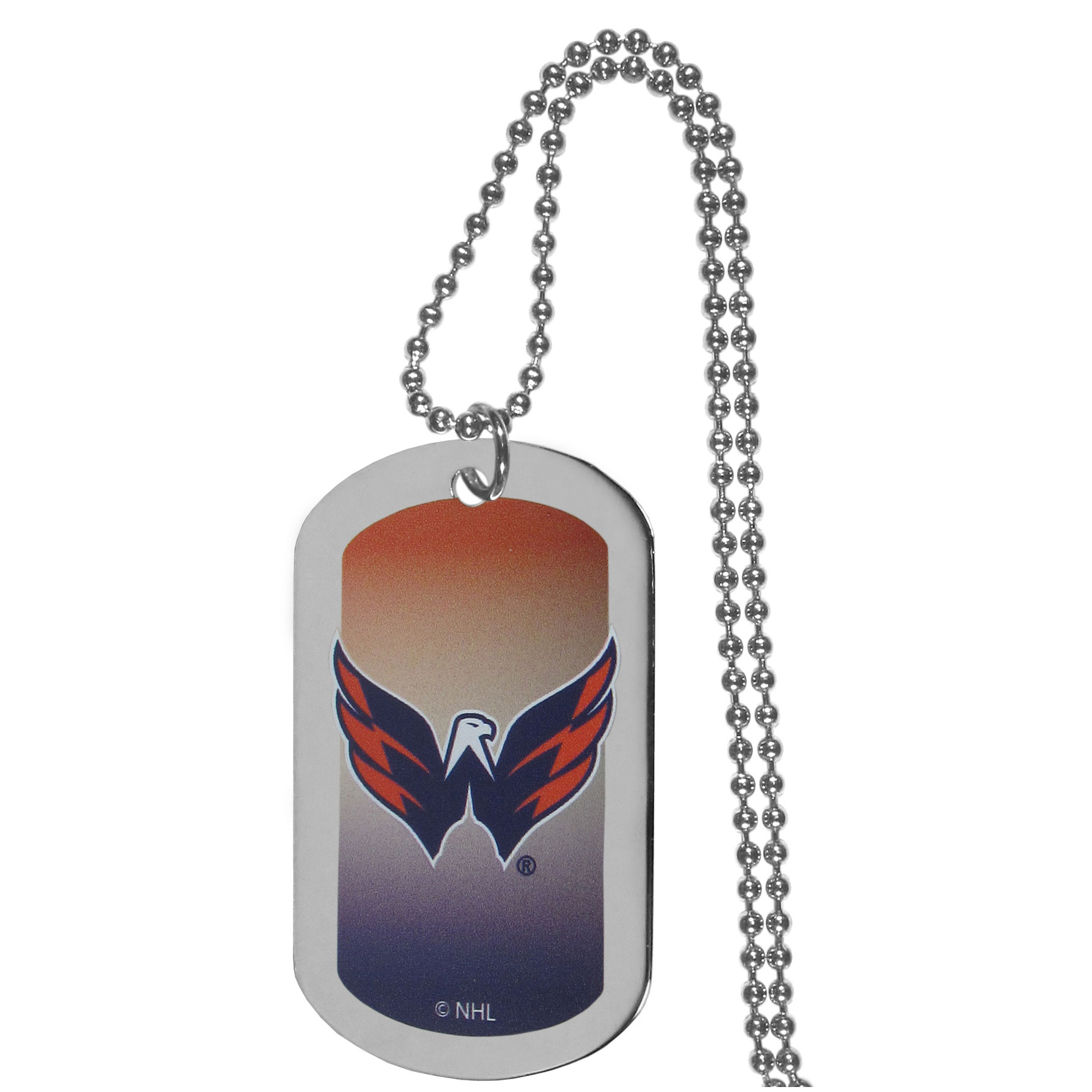 Washington Capitals® Team Tag Necklace - Dog tag necklaces are a fashion statement that is here to stay. The sporty version of the classic tag features a gradient print in team colors featuring a full color team logo over a high polish tag to create a bold and sporty look. The tag comes on a 26 inch ball chain with a ball and joint clasp. Any Washington Capitals® would be proud to wear this attractive fashion accessory.