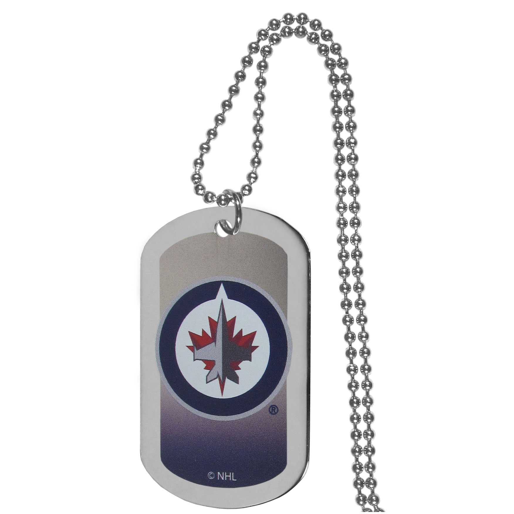 Winnipeg Jets™ Team Tag Necklace - Dog tag necklaces are a fashion statement that is here to stay. The sporty version of the classic tag features a gradient print in team colors featuring a full color team logo over a high polish tag to create a bold and sporty look. The tag comes on a 26 inch ball chain with a ball and joint clasp. Any Winnipeg Jets™ would be proud to wear this attractive fashion accessory.