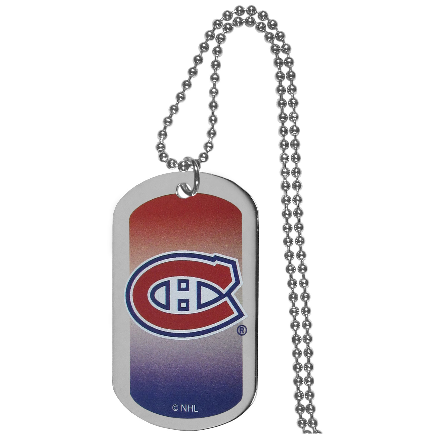 Montreal Canadiens® Team Tag Necklace - Dog tag necklaces are a fashion statement that is here to stay. The sporty version of the classic tag features a gradient print in team colors featuring a full color team logo over a high polish tag to create a bold and sporty look. The tag comes on a 26 inch ball chain with a ball and joint clasp. Any Montreal Canadiens® would be proud to wear this attractive fashion accessory.
