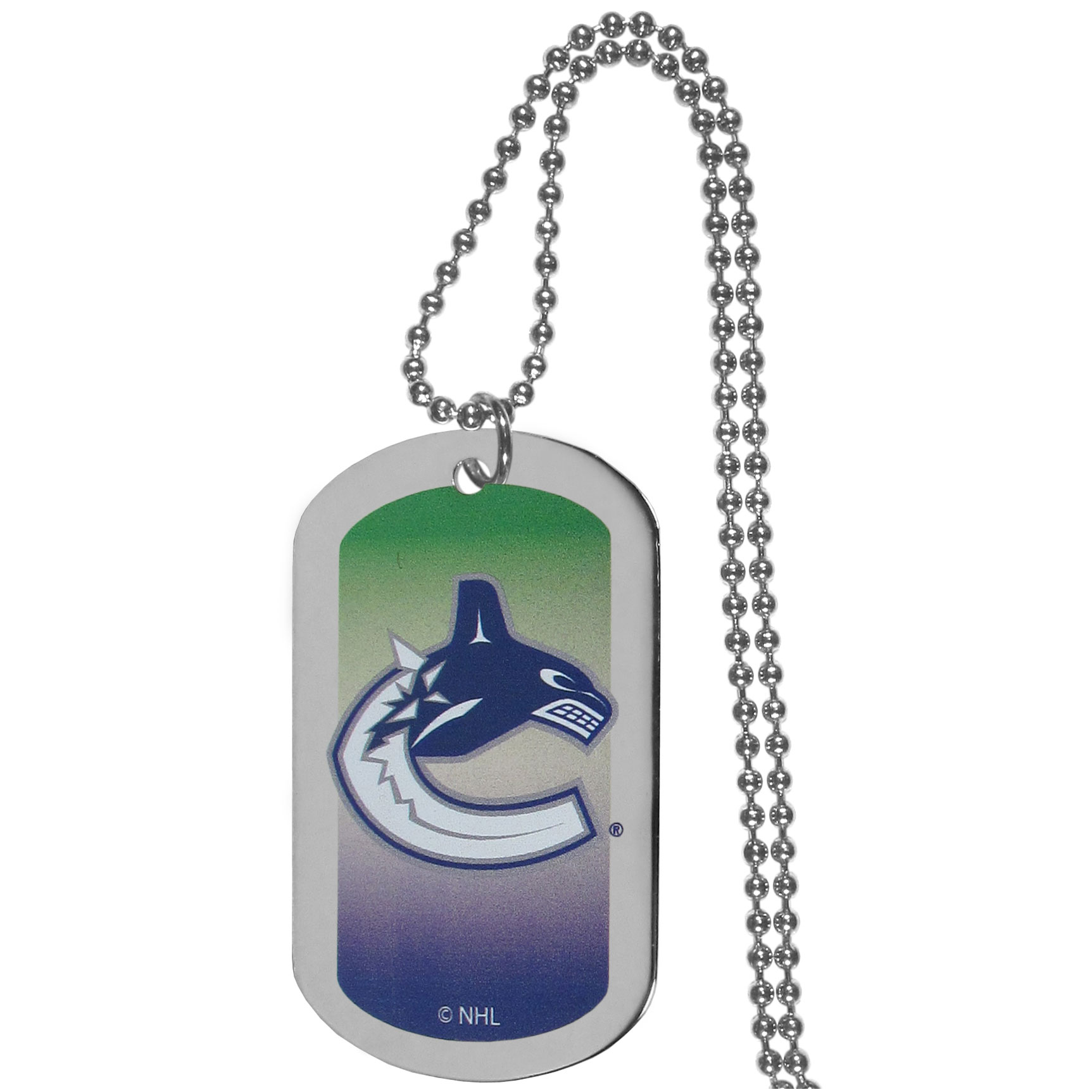 Vancouver Canucks® Team Tag Necklace - Dog tag necklaces are a fashion statement that is here to stay. The sporty version of the classic tag features a gradient print in team colors featuring a full color team logo over a high polish tag to create a bold and sporty look. The tag comes on a 26 inch ball chain with a ball and joint clasp. Any Vancouver Canucks® would be proud to wear this attractive fashion accessory.