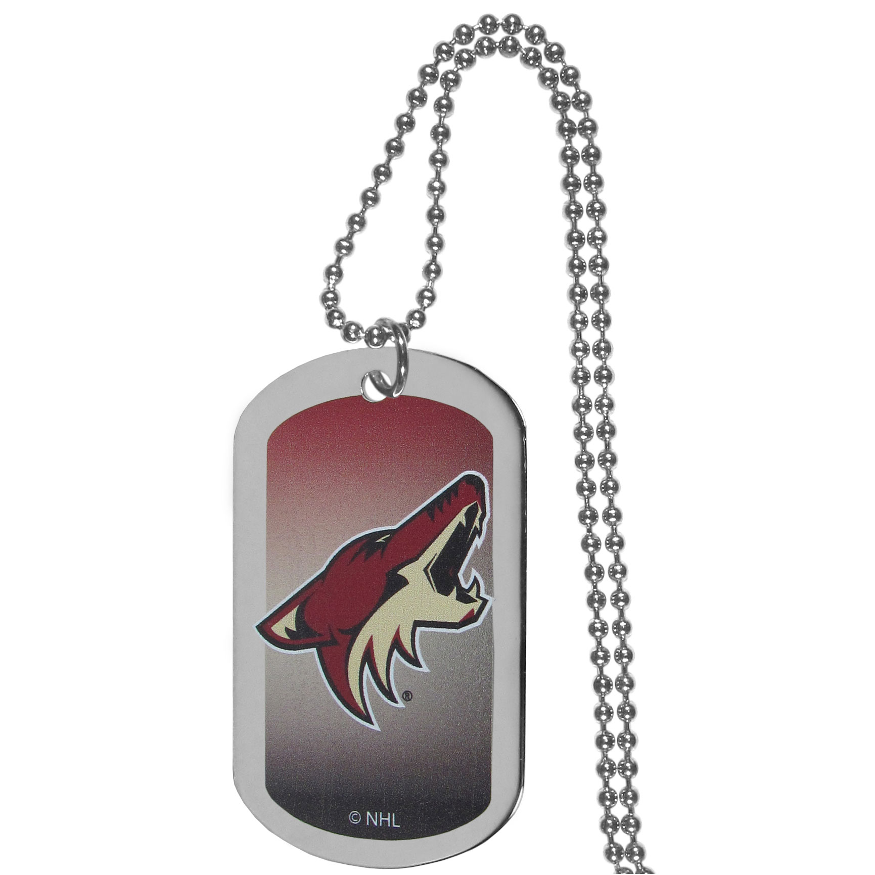 Arizona Coyotes® Team Tag Necklace - Dog tag necklaces are a fashion statement that is here to stay. The sporty version of the classic tag features a gradient print in team colors featuring a full color team logo over a high polish tag to create a bold and sporty look. The tag comes on a 26 inch ball chain with a ball and joint clasp. Any Arizona Coyotes® would be proud to wear this attractive fashion accessory.