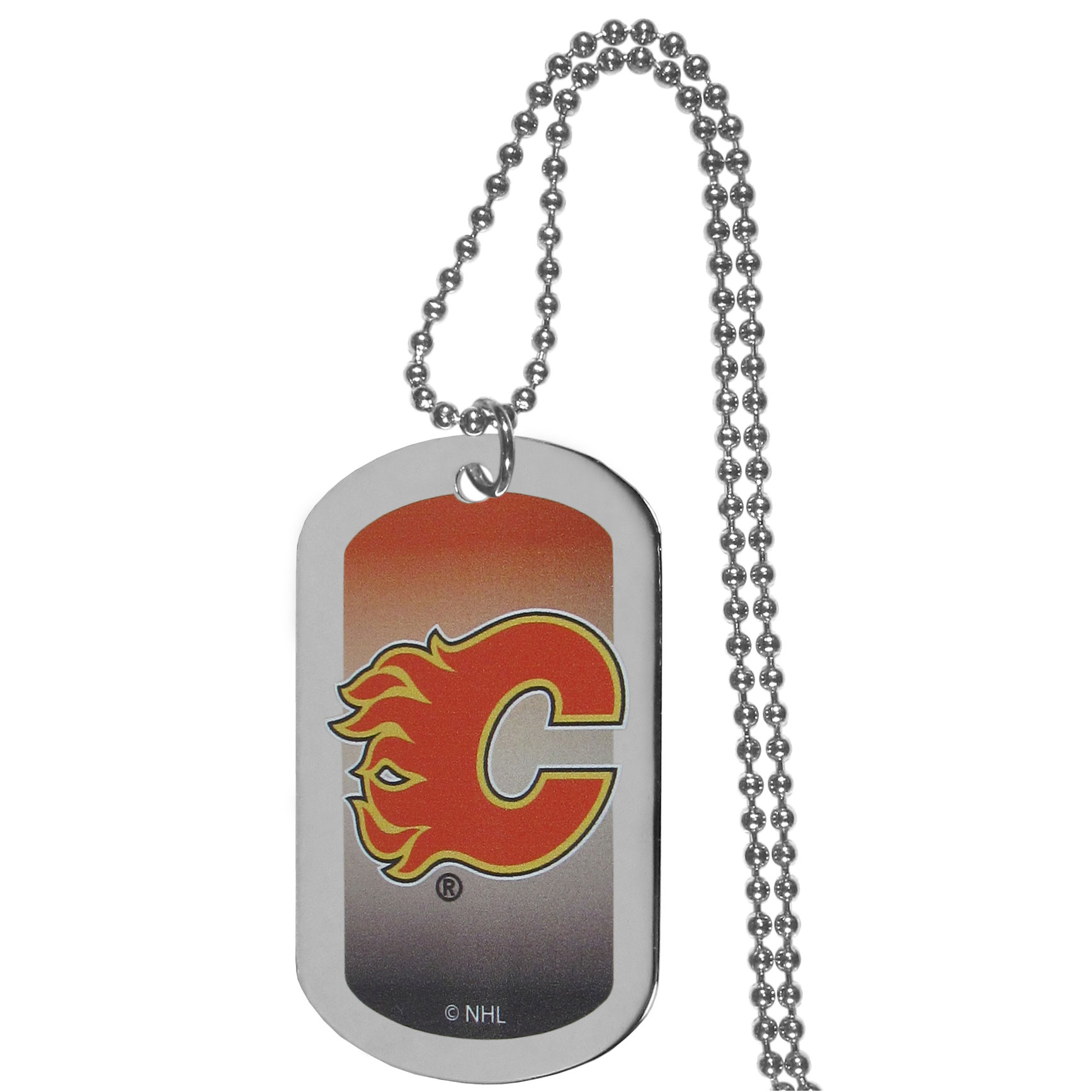 Calgary Flames® Team Tag Necklace - Dog tag necklaces are a fashion statement that is here to stay. The sporty version of the classic tag features a gradient print in team colors featuring a full color team logo over a high polish tag to create a bold and sporty look. The tag comes on a 26 inch ball chain with a ball and joint clasp. Any Calgary Flames® would be proud to wear this attractive fashion accessory.