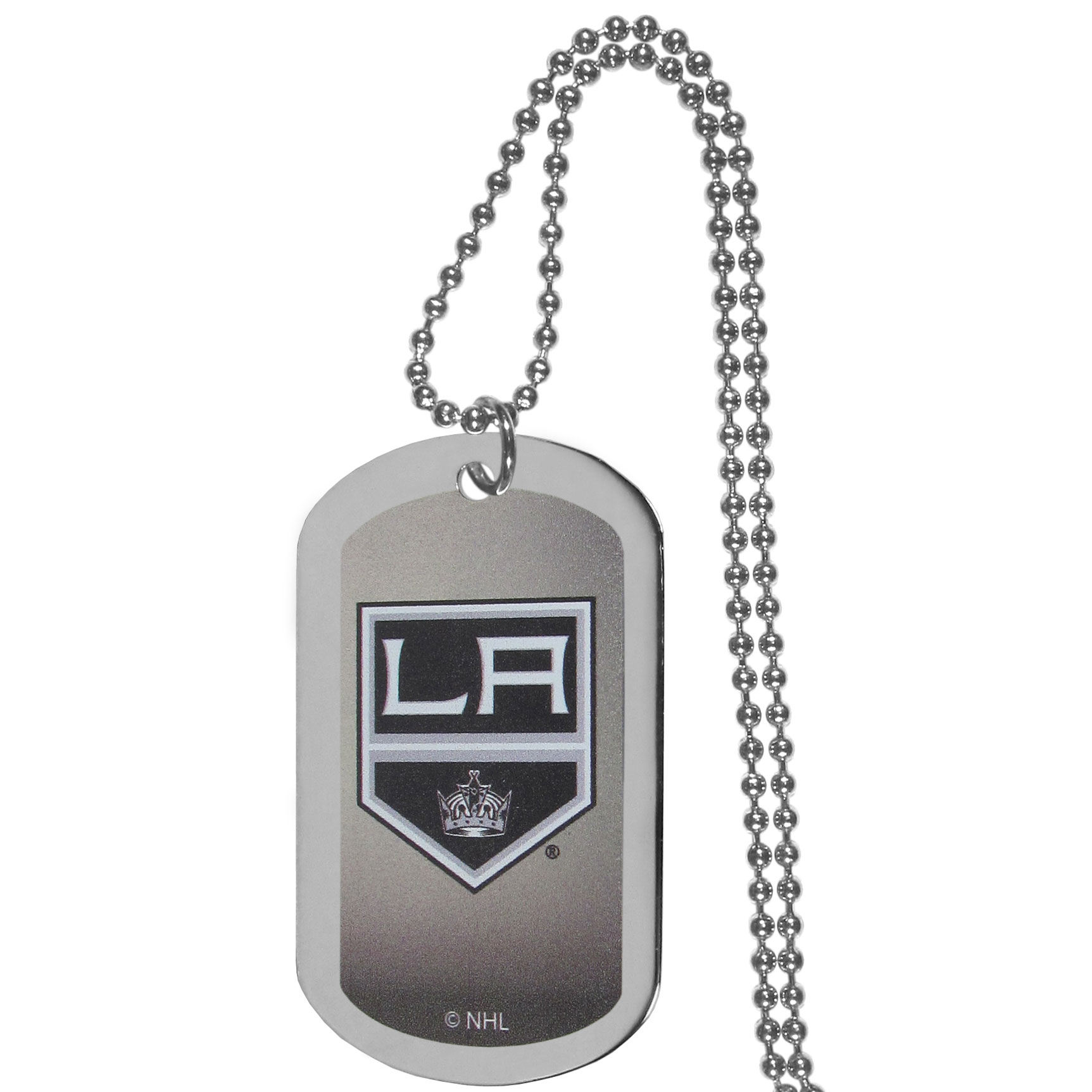 Los Angeles Kings® Team Tag Necklace - Dog tag necklaces are a fashion statement that is here to stay. The sporty version of the classic tag features a gradient print in team colors featuring a full color team logo over a high polish tag to create a bold and sporty look. The tag comes on a 26 inch ball chain with a ball and joint clasp. Any Los Angeles Kings® would be proud to wear this attractive fashion accessory.
