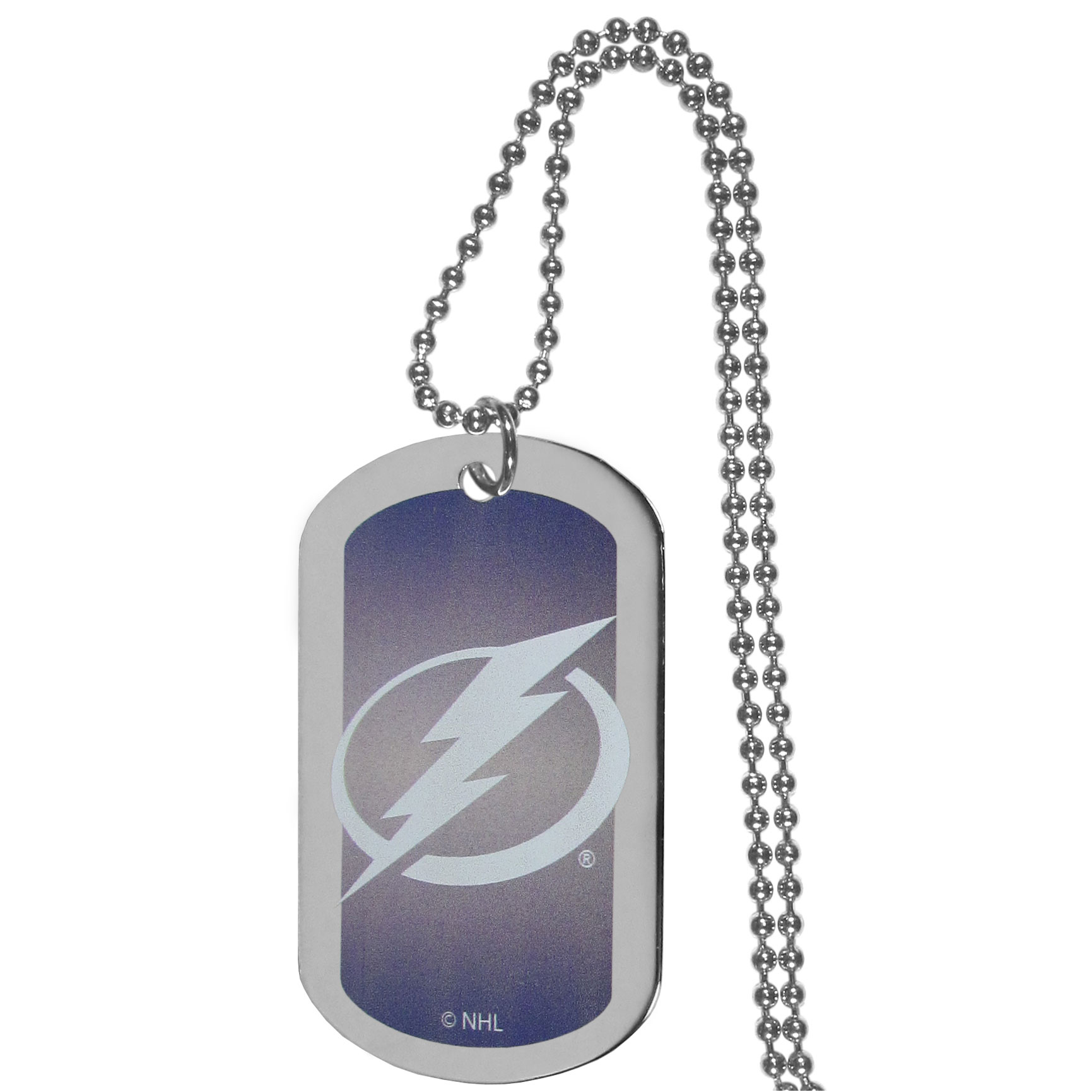 Tampa Bay Lightning® Team Tag Necklace - Dog tag necklaces are a fashion statement that is here to stay. The sporty version of the classic tag features a gradient print in team colors featuring a full color team logo over a high polish tag to create a bold and sporty look. The tag comes on a 26 inch ball chain with a ball and joint clasp. Any Tampa Bay Lightning® would be proud to wear this attractive fashion accessory.