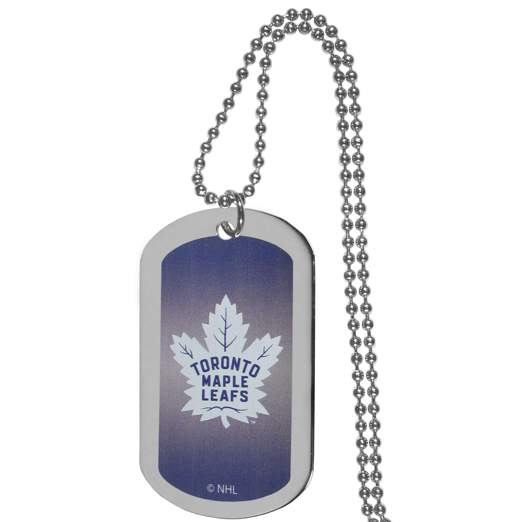 Toronto Maple Leafs® Team Tag Necklace - Dog tag necklaces are a fashion statement that is here to stay. The sporty version of the classic tag features a gradient print in team colors featuring a full color team logo over a high polish tag to create a bold and sporty look. The tag comes on a 26 inch ball chain with a ball and joint clasp. Any Toronto Maple Leafs® would be proud to wear this attractive fashion accessory.