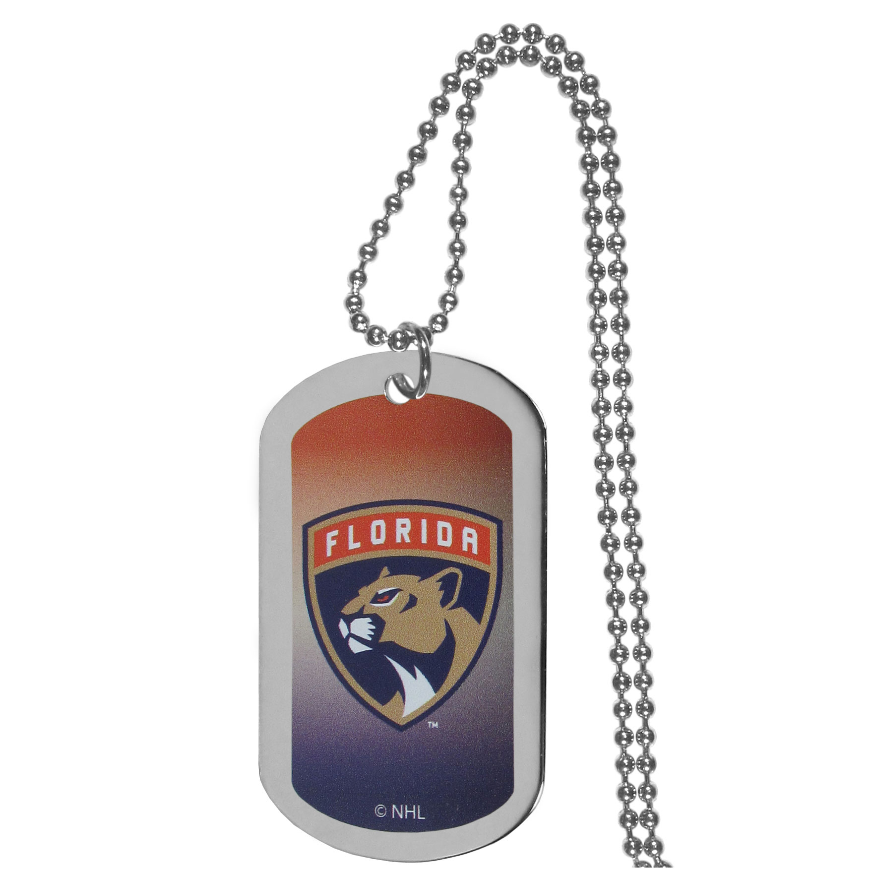 Florida Panthers® Team Tag Necklace - Dog tag necklaces are a fashion statement that is here to stay. The sporty version of the classic tag features a gradient print in team colors featuring a full color team logo over a high polish tag to create a bold and sporty look. The tag comes on a 26 inch ball chain with a ball and joint clasp. Any Florida Panthers® would be proud to wear this attractive fashion accessory.