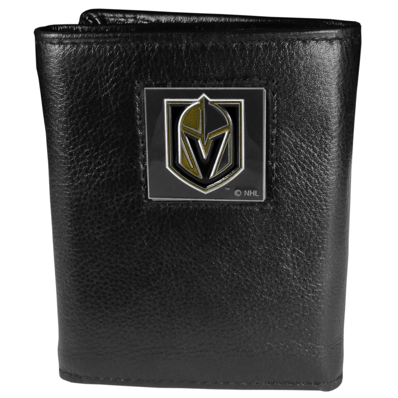 Las Vegas Golden Knights® Deluxe Leather Tri-fold Wallet - Our officially licensed fine grain leather wallet features numerous card slots, windowed ID slots, removable picture slots and large billfold pockets. This quality wallet has an enameled Las Vegas Golden Knights® emblem on the front of the wallet making it a stylish way to show off your team pride.