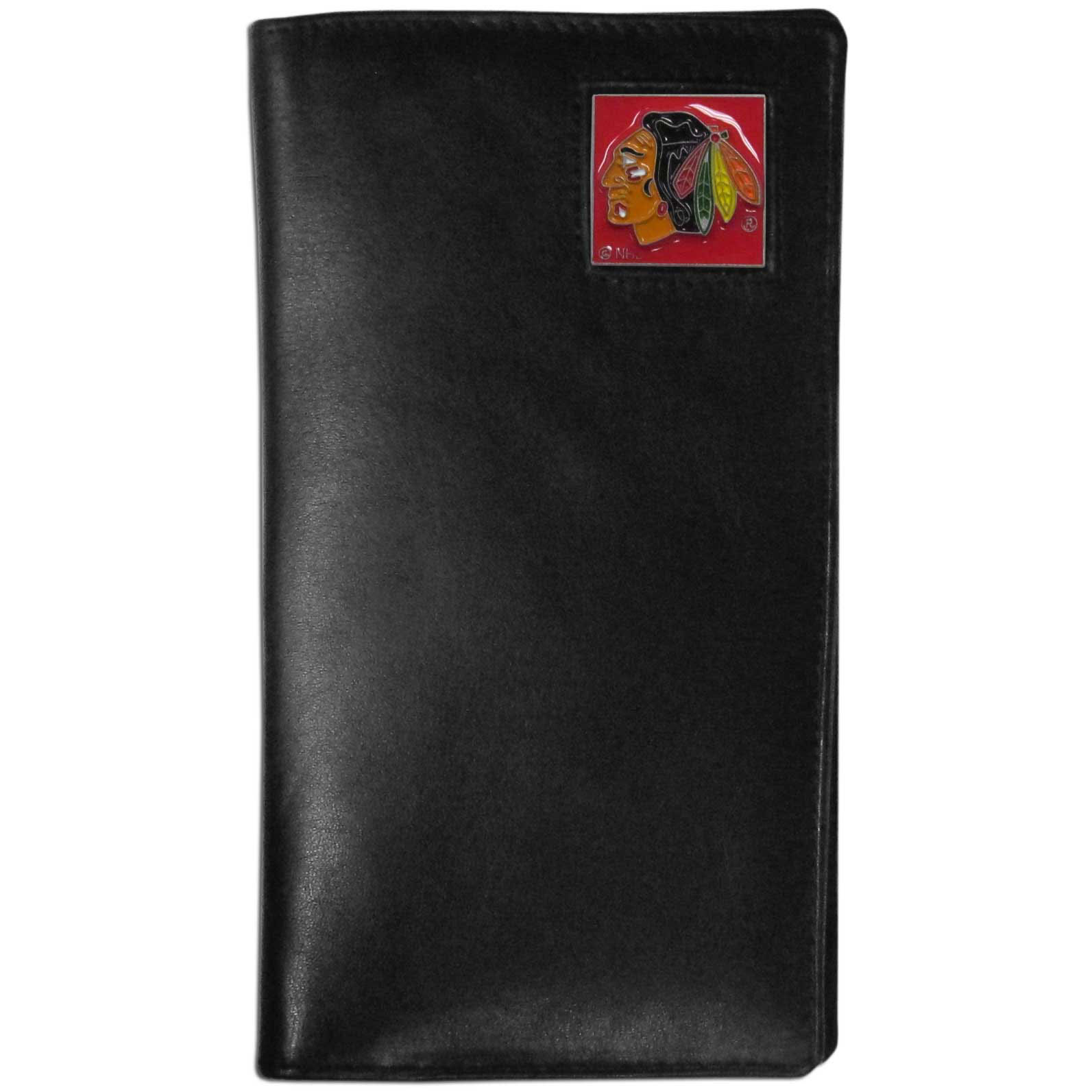 Chicago Blackhawks Tall Leather Wallet - This officially licensed Chicago Blackhawks tall leather wallet cover is made of high quality leather with a fully cast metal Chicago Blackhawks emblem with enameled Chicago Blackhawks color detail. The cover fits both side and top loaded checks and includes a large zippered pocket, windowed ID slot, numerous credit card slots and billfold pocket. Thank you for visiting CrazedOutSports