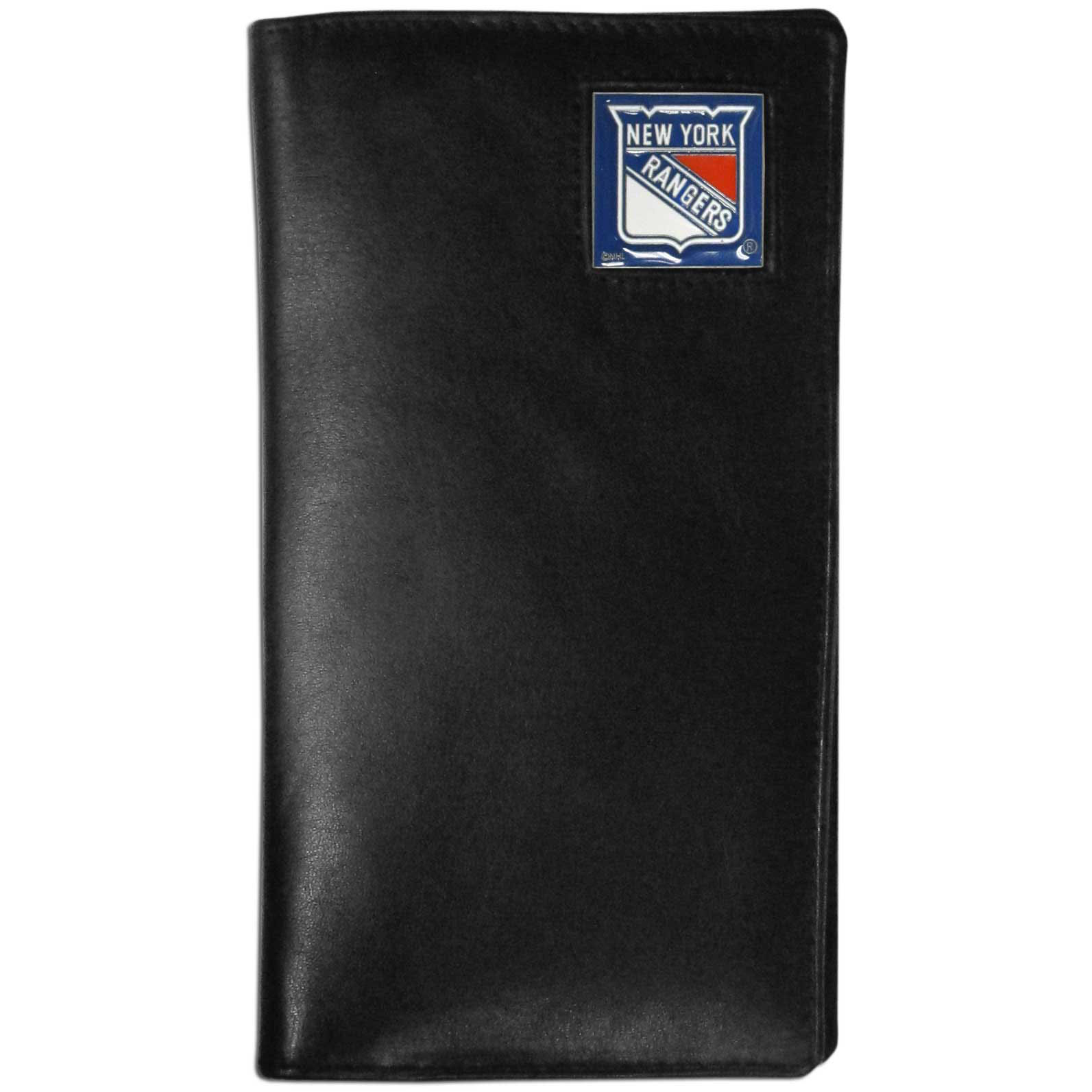 New York Rangers Tall Leather Wallet - This officially licensed New York Rangers tall leather wallet cover is made of high quality leather with a fully cast metal New York Rangers emblem with enameled New York Rangers color detail. The cover fits both side and top loaded checks and includes a large zippered pocket, windowed ID slot, numerous credit card slots and billfold pocket. Thank you for visiting CrazedOutSports