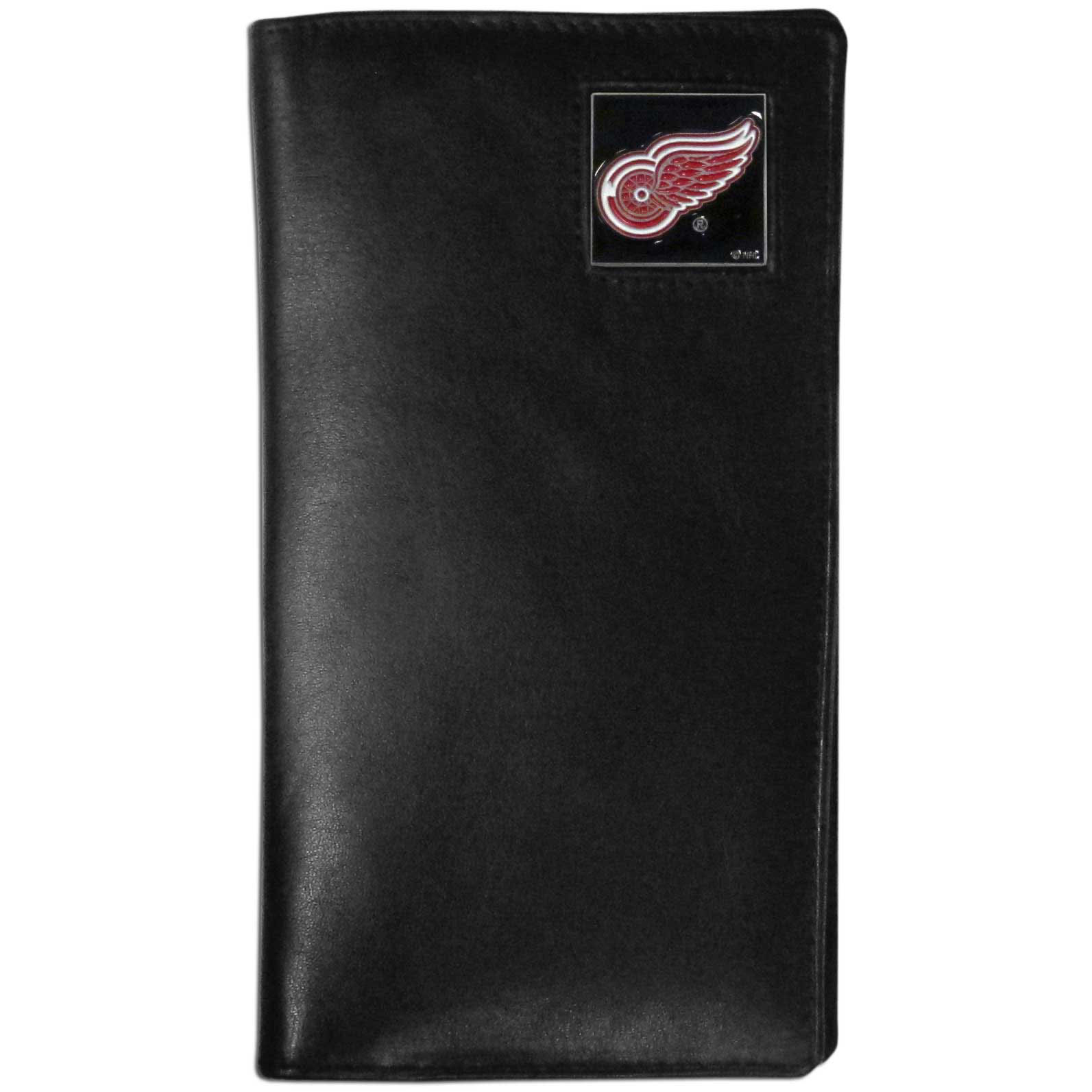 Detroit Red Wings Tall Leather Wallet - This officially licensed tall leather wallet cover is made of high quality leather with a fully cast metal Detroit Red Wings emblem with enameled Detroit Red Wings color detail. The cover fits both side and top loaded checks and includes a large zippered pocket, windowed ID slot, numerous credit card slots and billfold pocket. Thank you for visiting CrazedOutSports