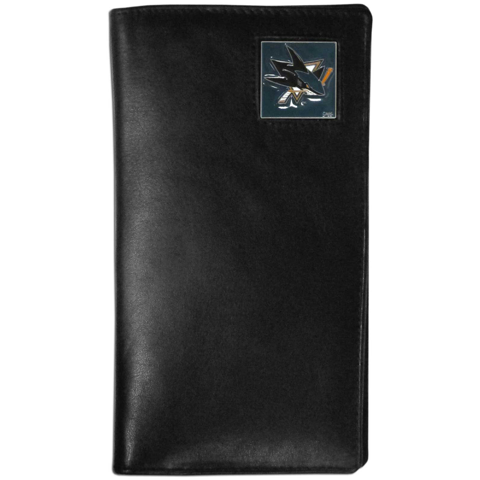 San Jose Sharks Tall Leather Wallet - This officially licensed San Jose Sharks tall leather wallet cover is made of high quality leather with a fully cast metal San Jose Sharks emblem with enameled San Jose Sharks color detail. The cover fits both side and top loaded checks and includes a large zippered pocket, windowed ID slot, numerous credit card slots and billfold pocket.