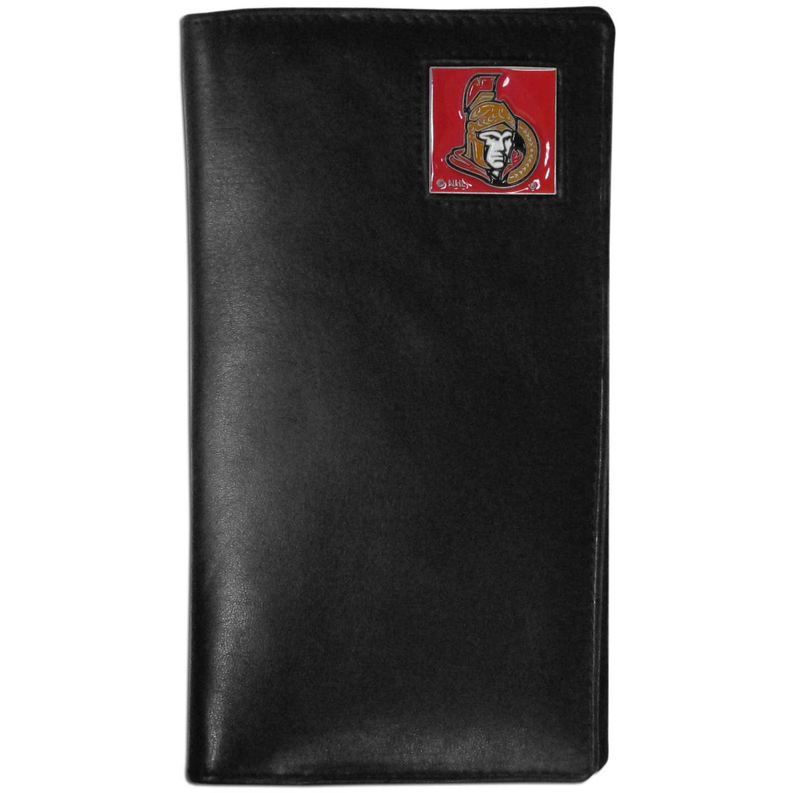 Ottawa Senators Tall Leather Wallet - This officially licensed Ottawa Senators tall leather wallet cover is made of high quality leather with a fully cast metal Ottawa Senators emblem with enameled Ottawa Senators color detail. The cover fits both side and top loaded checks and includes a large zippered pocket, windowed ID slot, numerous credit card slots and billfold pocket.