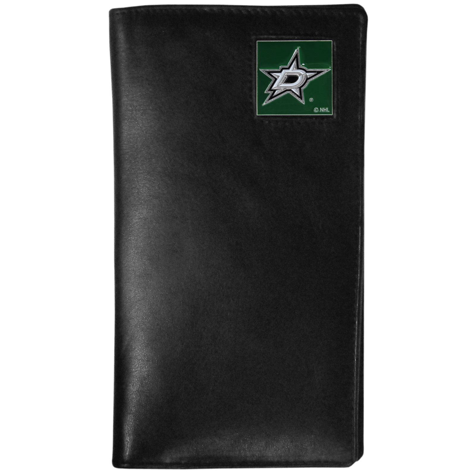 Dallas Stars Tall Leather Wallet - This officially licensed Dallas Stars tall leather wallet cover is made of high quality leather with a fully cast metal Dallas Stars emblem with enameled Dallas Stars color detail. The cover fits both side and top loaded checks and includes a large zippered pocket, windowed ID slot, numerous credit card slots and billfold pocket.