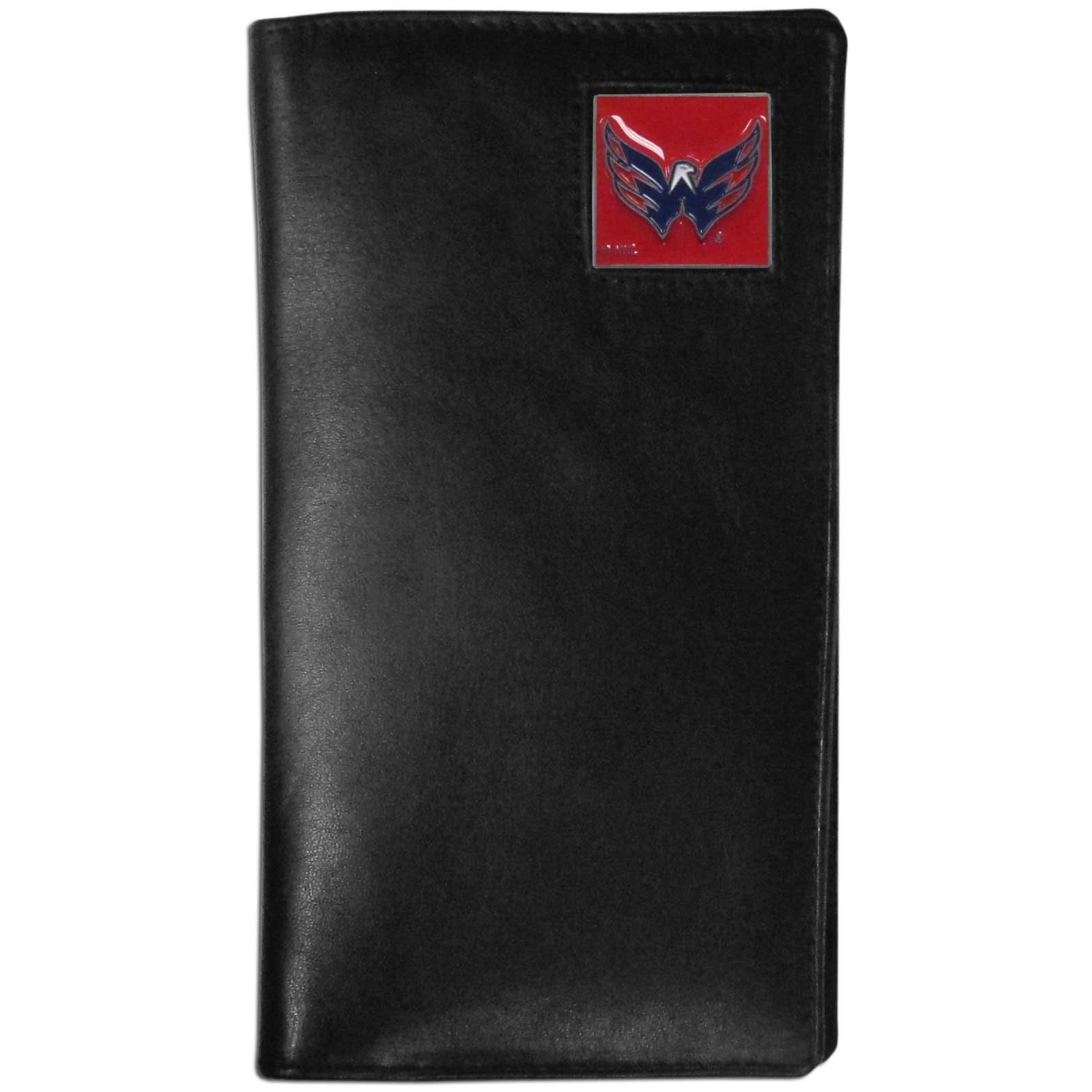 Washington Capitals Tall Leather Wallet - This officially licensed Washington Capitals tall leather wallet cover is made of high quality leather with a fully cast metal Washington Capitals emblem with enameled Washington Capitals color detail. The cover fits both side and top loaded checks and includes a large zippered pocket, windowed ID slot, numerous credit card slots and billfold pocket. Thank you for visiting CrazedOutSports