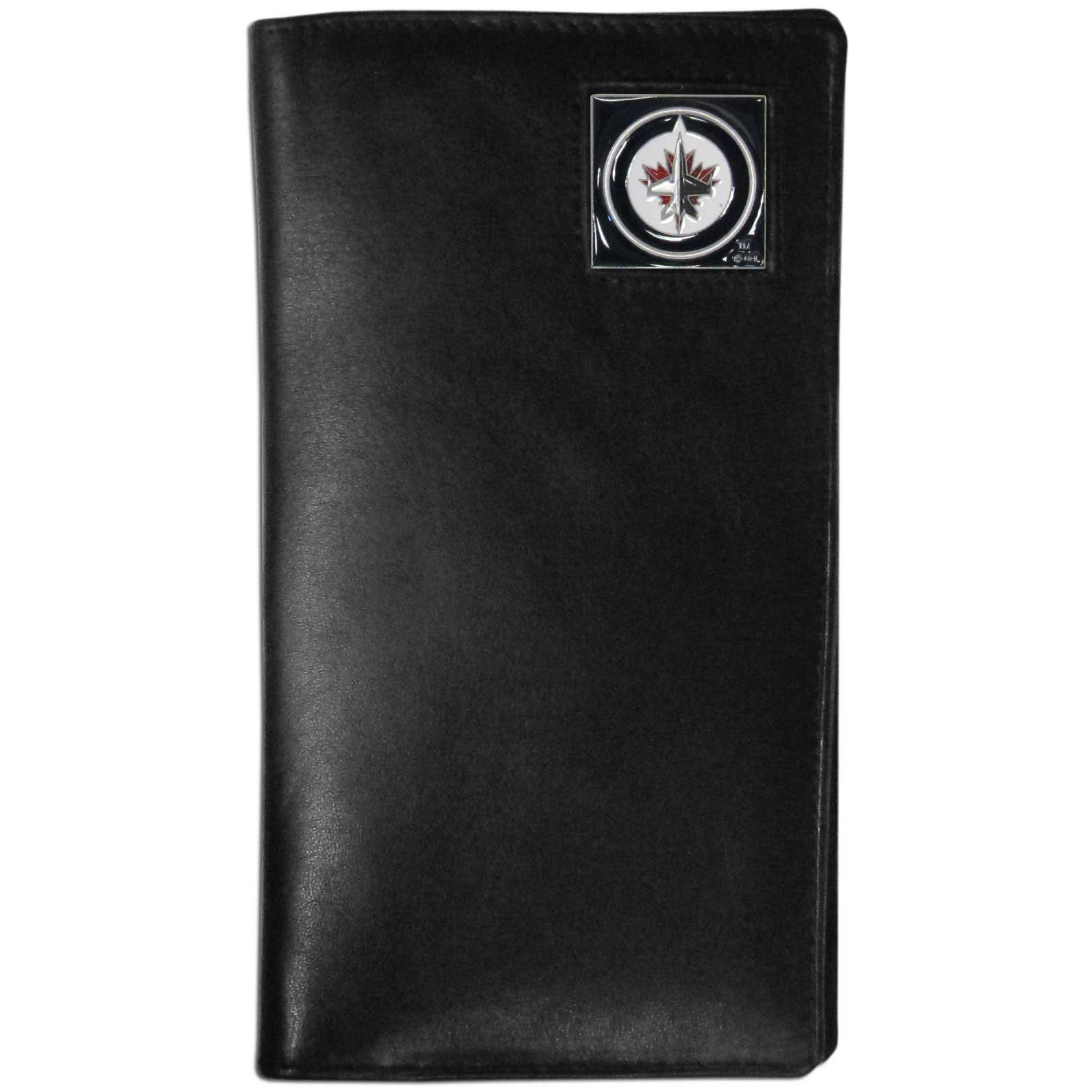 Winnipeg Jets Tall Leather Wallet - This Winnipeg Jets officially licensed tall leather wallet cover is made of high quality leather with a fully cast metal Winnipeg Jets emblem with enameled team Winnipeg Jets detail. The cover fits both side and top loaded checks and includes a large zippered pocket, windowed ID slot, numerous credit card slots and billfold pocket.