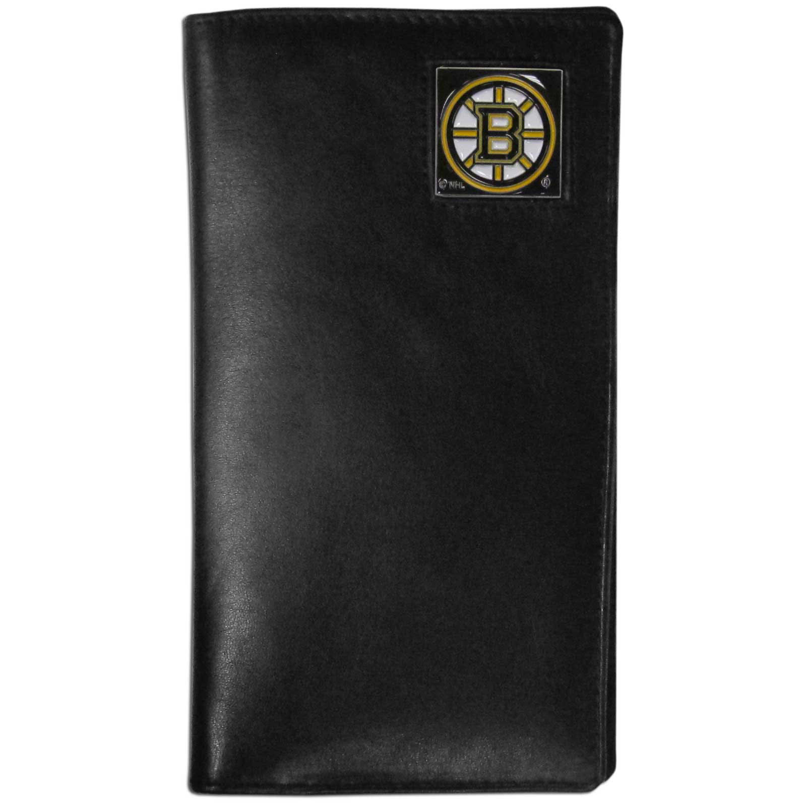 Boston Bruins Tall Leather Wallet - This officially licensed Boston Bruins tall leather wallet cover is made of high quality leather with a fully cast metal Boston Bruins emblem with enameled Boston Bruins color detail. The cover fits both side and top loaded checks and includes a large zippered pocket, windowed ID slot, numerous credit card slots and billfold pocket. Thank you for visiting CrazedOutSports