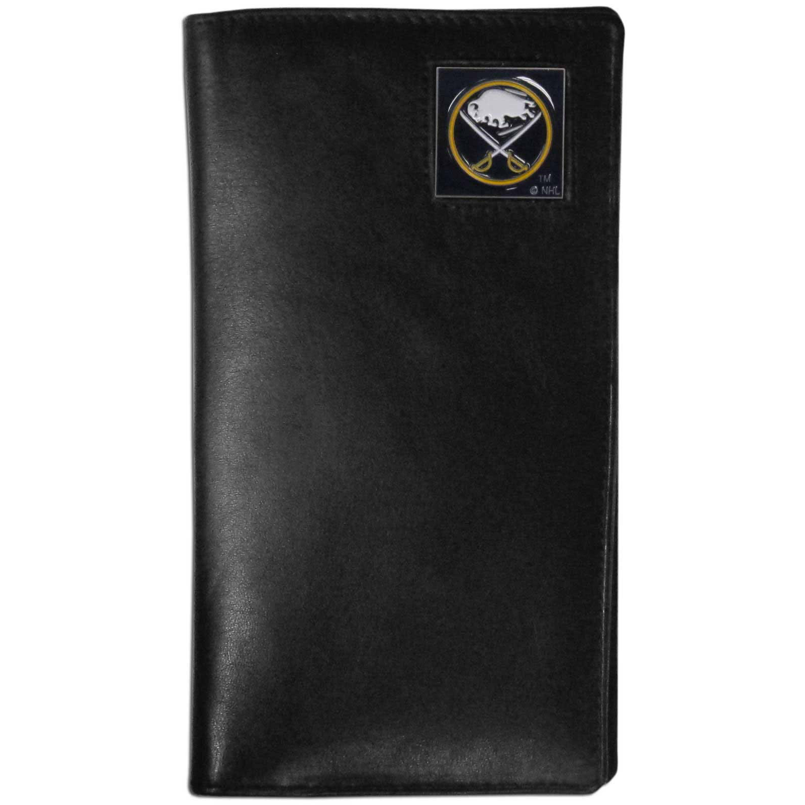 Buffalo Sabres Tall Leather Wallet - This officially licensed Buffalo Sabres tall leather wallet cover is made of high quality leather with a fully cast metal Buffalo Sabres emblem with enameled Buffalo Sabres color detail. The cover fits both side and top loaded checks and includes a large zippered pocket, windowed ID slot, numerous credit card slots and billfold pocket.