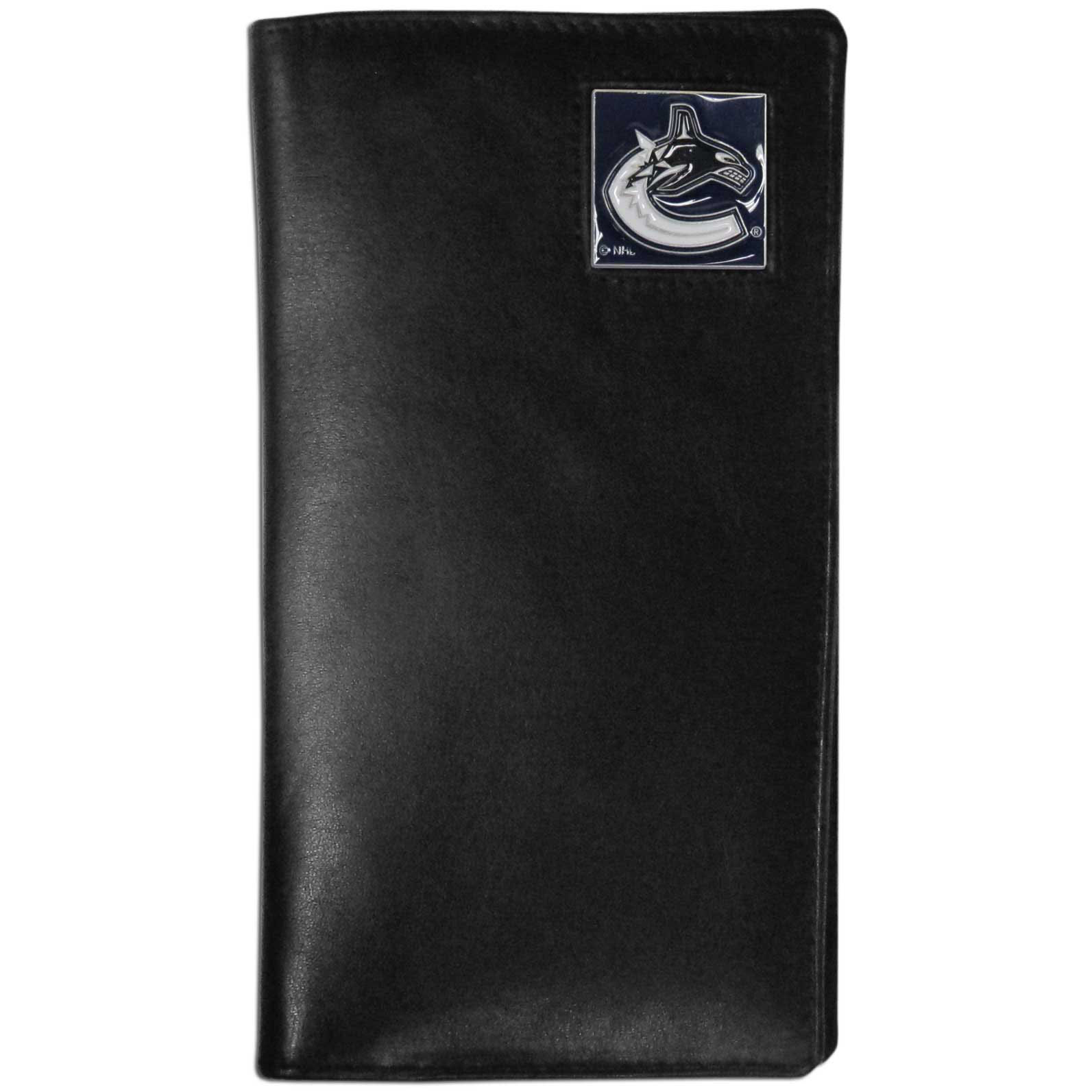 Vancouver Canucks Tall Leather Wallet - This officially licensed Vancouver Canucks tall leather wallet cover is made of high quality leather with a fully cast metal Vancouver Canucks emblem with enameled Vancouver Canucks color detail. The cover fits both side and top loaded checks and includes a large zippered pocket, windowed ID slot, numerous credit card slots and billfold pocket.