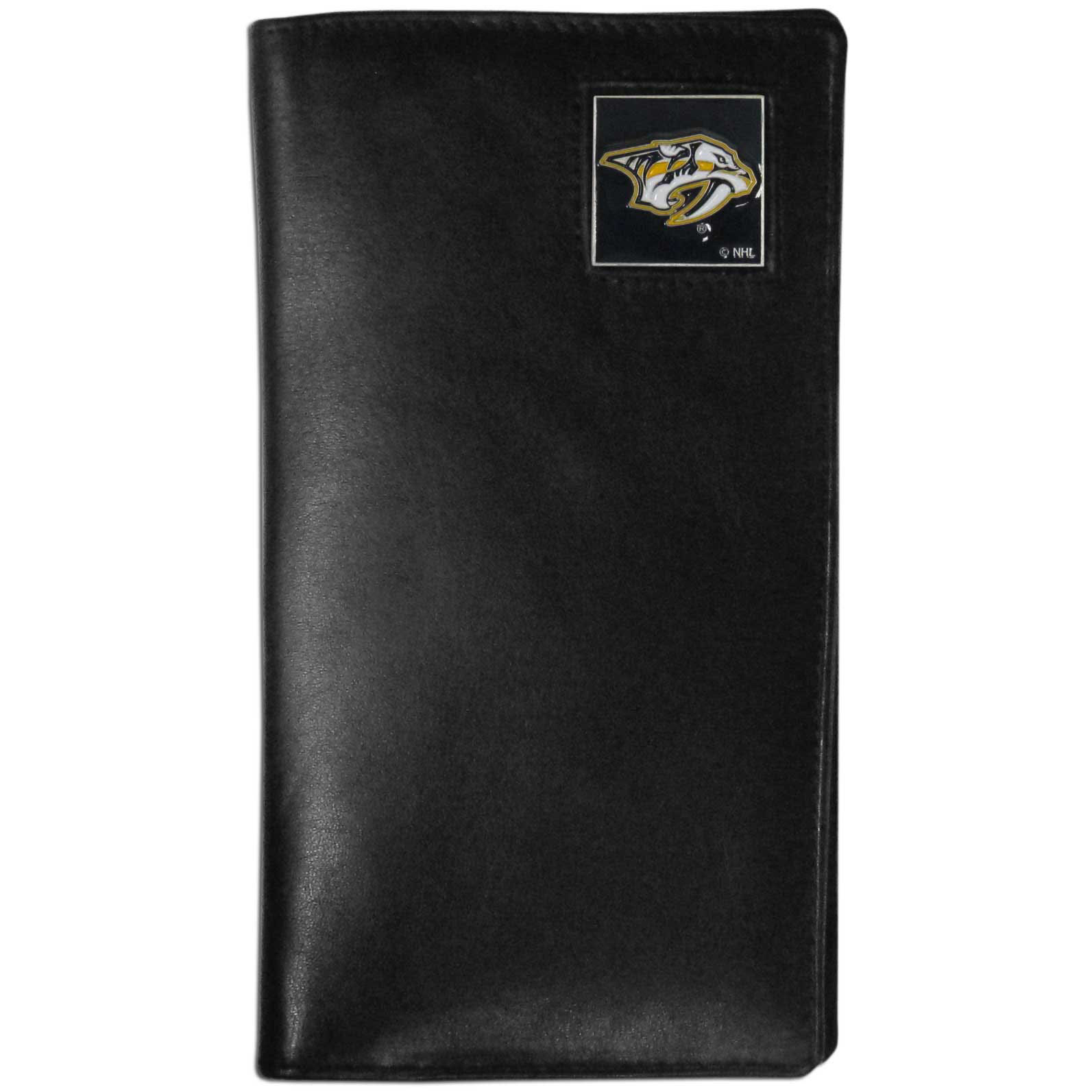 Nashville Predators Tall Leather Wallet - This officially licensed Nashville Predators tall leather wallet cover is made of high quality leather with a fully cast metal Nashville Predators emblem with enameled Nashville Predators color detail. The tall leather wallet cover fits both side and top loaded checks and includes a large zippered pocket, windowed ID slot, numerous credit card slots and billfold pocket.