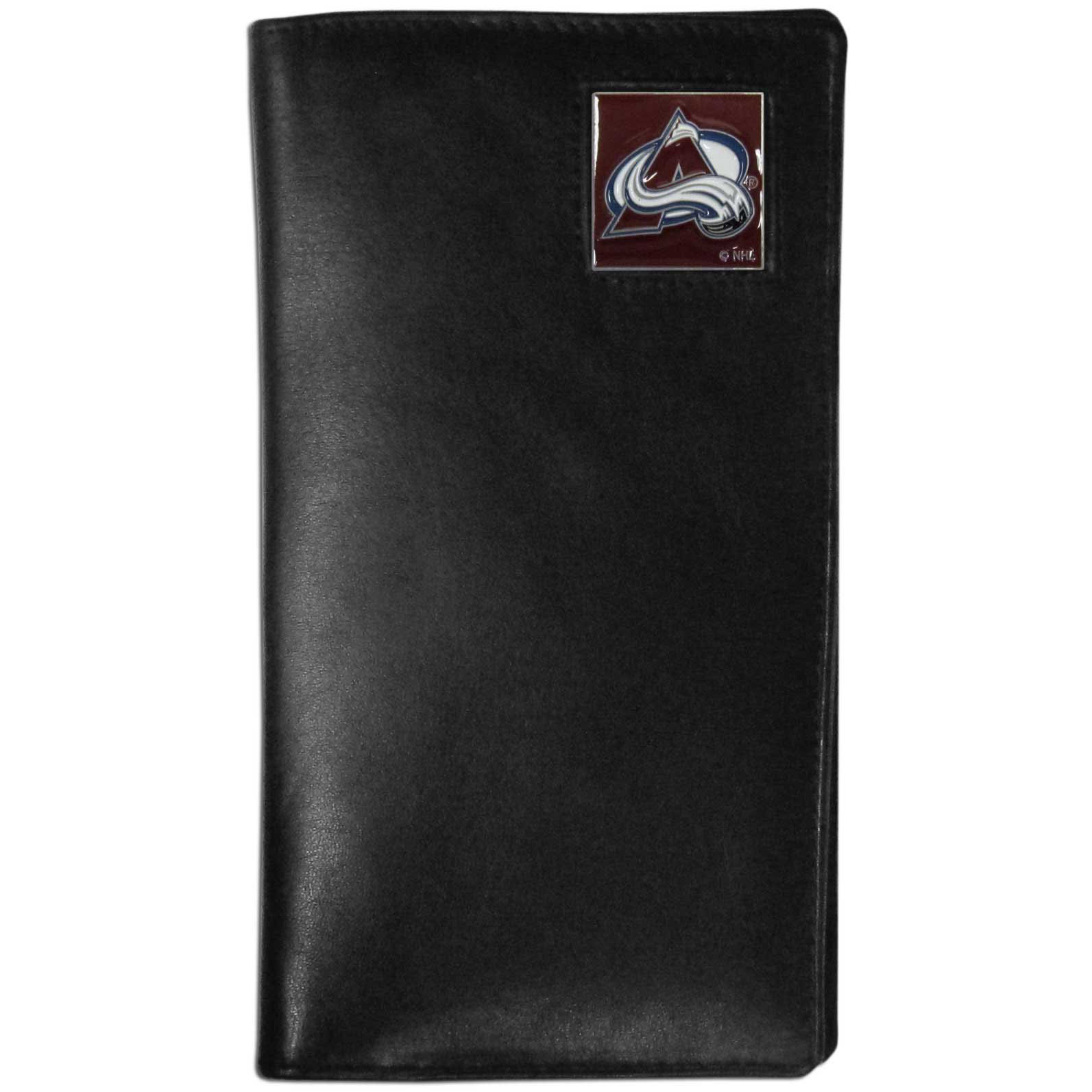 Colorado Avalanche Tall Leather Wallet - This officially licensed Colorado Avalanche tall leather wallet cover is made of high quality leather with a fully cast metal Colorado Avalanche emblem with enameled Colorado Avalanche color detail. The tall leather wallet cover fits both side and top loaded checks and includes a large zippered pocket, windowed ID slot, numerous credit card slots and billfold pocket.
