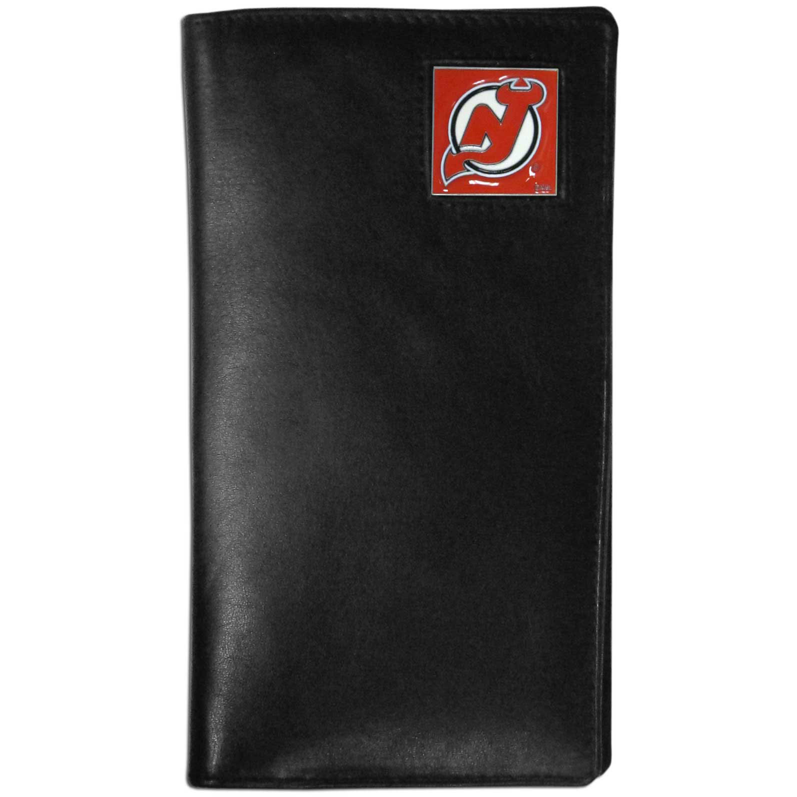 New Jersey Devils Tall Leather Wallet - This officially licensed New Jersey Devils tall leather wallet cover is made of high quality leather with a fully cast metal New Jersey Devils emblem with enameled New Jersey Devils color detail. The cover fits both side and top loaded checks and includes a large zippered pocket, windowed ID slot, numerous credit card slots and billfold pocket. Thank you for visiting CrazedOutSports