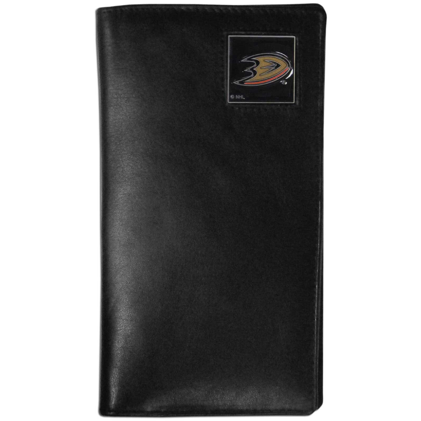 Anaheim Ducks Tall Leather Wallet - This officially licensed Anaheim Ducks tall leather wallet cover is made of high quality leather with a fully cast metal Anaheim Ducks emblem with enameled Anaheim Ducks color detail. The cover fits both side and top loaded checks and includes a large zippered pocket, windowed ID slot, numerous credit card slots and billfold pocket. Thank you for visiting CrazedOutSports