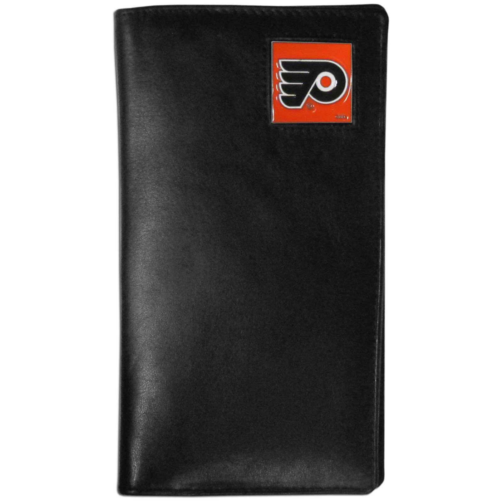 Philadelphia Flyers Tall Leather Wallet - This officially licensed Philadelphia Flyers tall leather wallet cover is made of high quality leather with a fully cast metal Philadelphia Flyers emblem with enameled Philadelphia Flyers color detail. The cover fits both side and top loaded checks and includes a large zippered pocket, windowed ID slot, numerous credit card slots and billfold pocket. Thank you for visiting CrazedOutSports