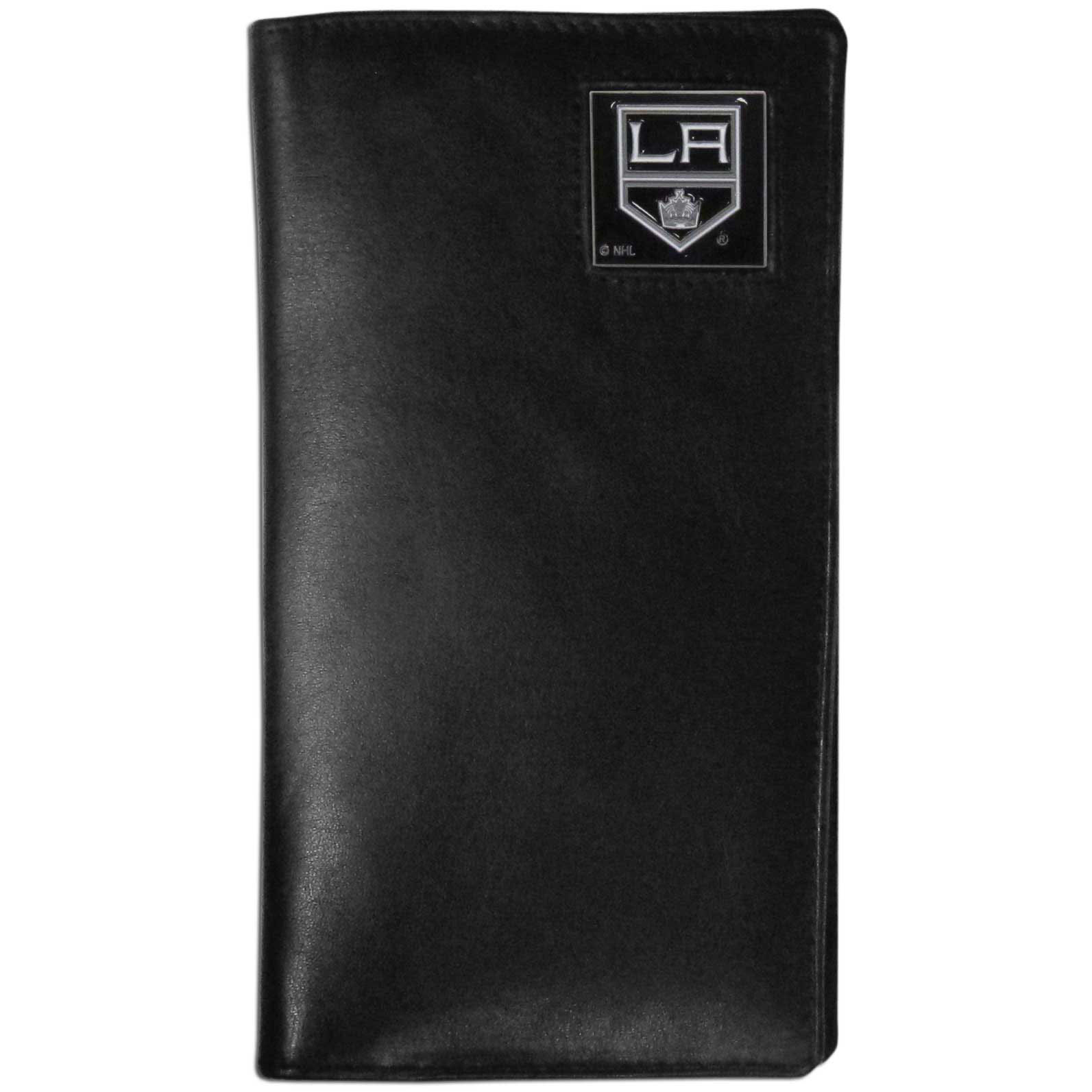 Los Angeles Kings Tall Leather Wallet - This officially licensed Los Angeles Kings tall leather wallet cover is made of high quality leather with a fully cast metal Los Angeles Kings emblem with enameled Los Angeles Kings color detail. The cover fits both side and top loaded checks and includes a large zippered pocket, windowed ID slot, numerous credit card slots and billfold pocket.