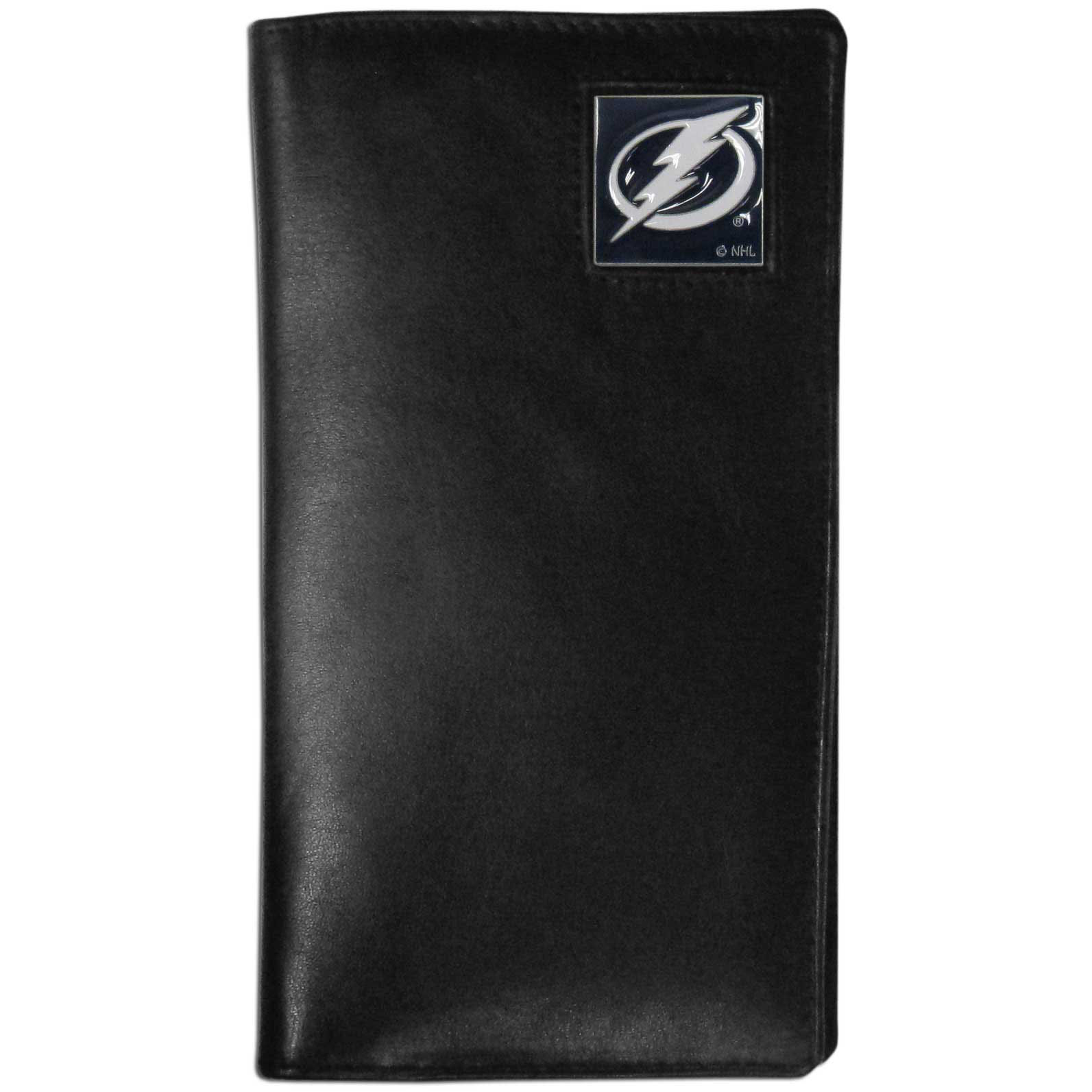Tampa Bay Lightning Tall Leather Wallet - This officially licensed Tampa Bay Lightning tall leather wallet cover is made of high quality leather with a fully cast metal Tampa Bay Lightning emblem with enameled Tampa Bay Lightning color detail. The cover fits both side and top loaded checks and includes a large zippered pocket, windowed ID slot, numerous credit card slots and billfold pocket. Thank you for visiting CrazedOutSports