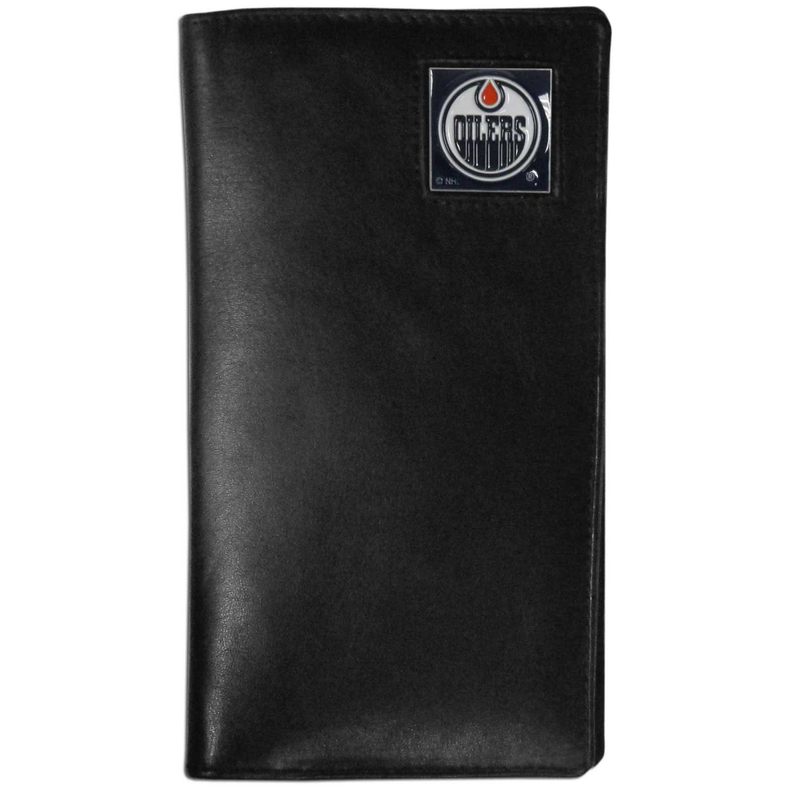 Edmonton Oilers Tall Leather Wallet - This officially licensed Edmonton Oilers tall leather wallet cover is made of high quality leather with a fully cast metal Edmonton Oilers emblem with enameled Edmonton Oilers color detail. The cover fits both side and top loaded checks and includes a large zippered pocket, windowed ID slot, numerous credit card slots and billfold pocket.