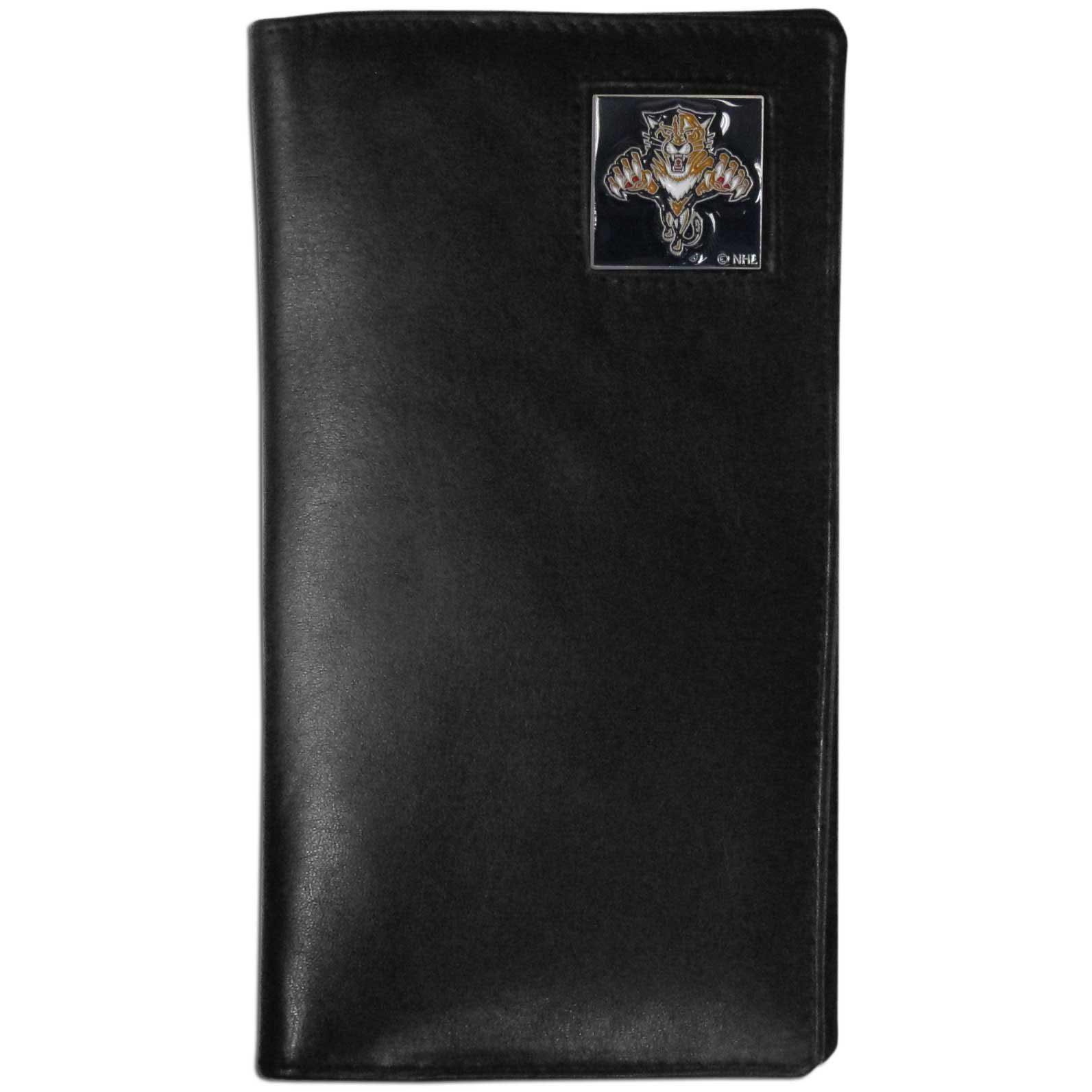 Florida Panthers Tall Leather Wallet - This officially licensed Florida Panthers tall leather wallet cover is made of high quality leather with a fully cast metal Florida Panthers emblem with enameled Florida Panthers color detail. The cover fits both side and top loaded checks and includes a large zippered pocket, windowed ID slot, numerous credit card slots and billfold pocket.