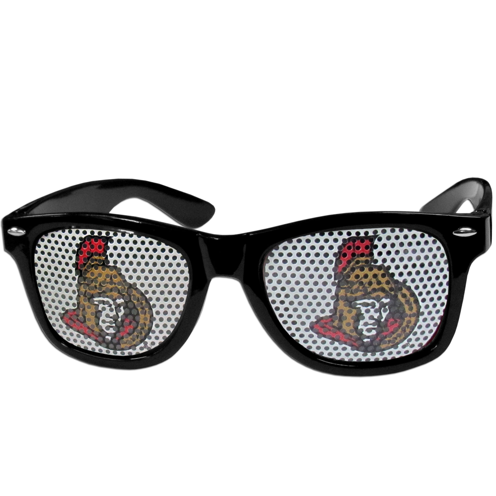 Ottawa Senators Game Day Shades - Officially licensed Ottawa Senators game day shades are the perfect accessory for the devoted Ottawa Senators fan! The Ottawa Senators game day sunglasses have durable polycarbonate frames with flex hinges for comfort and damage resistance. The lenses feature brightly colored Ottawa Senators clings that are perforated for visibility.