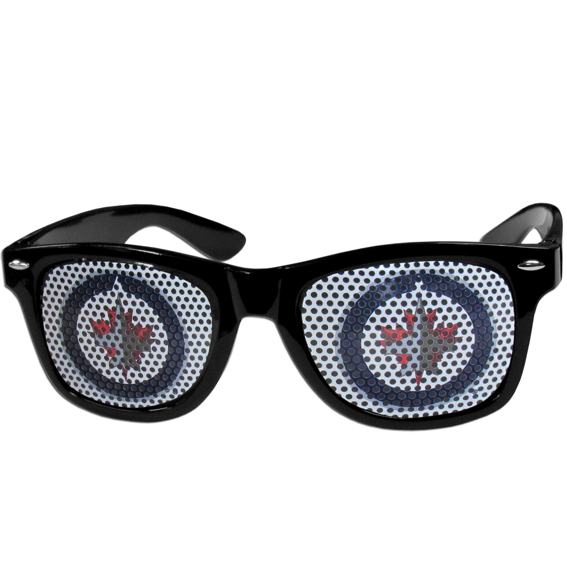 Winnipeg Jets Game Day Shades - Officially licensed Winnipeg Jets game day shades are the perfect accessory for the devoted Winnipeg Jets fan! The Winnipeg Jets game day sunglasses have durable polycarbonate frames with flex hinges for comfort and damage resistance. The lenses feature brightly colored Winnipeg Jets clings that are perforated for visibility.