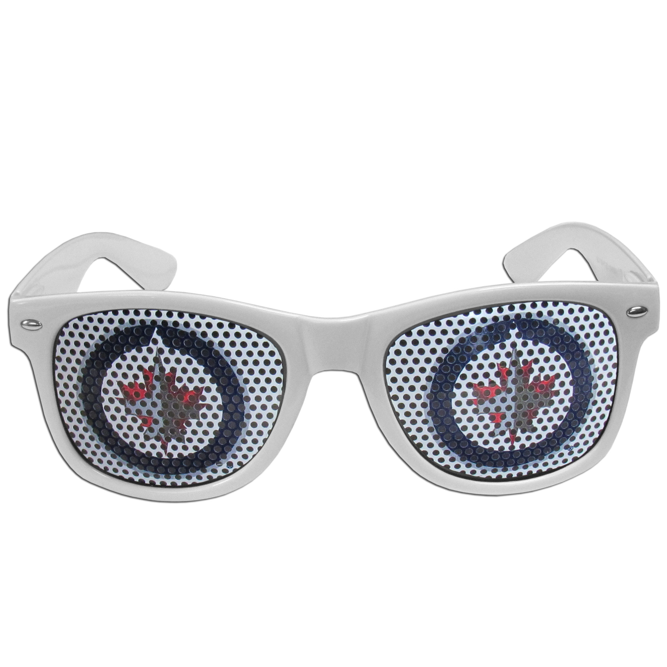 Winnipeg Jets Game Day Shades - Officially licensed Winnipeg Jets game day shades are the perfect accessory for the devoted Winnipeg Jets fan! The Winnipeg Jets game day shades have durable polycarbonate frames with flex hinges for comfort and damage resistance. The lenses feature brightly colored Winnipeg Jets clings that are perforated for visibility.