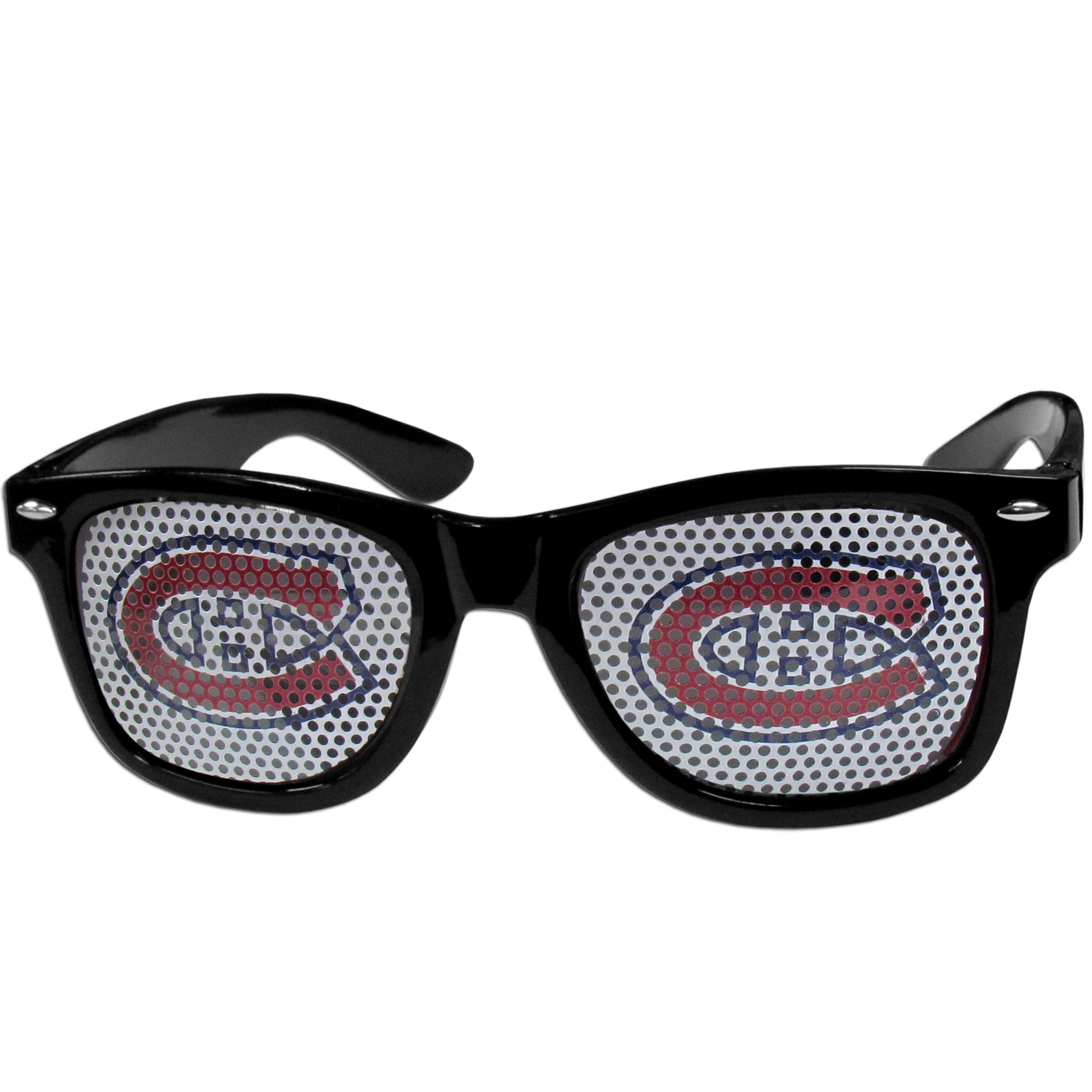 Montreal Canadiens Game Day Shades - Officially licensed Montreal Canadiens game day shades are the perfect accessory for the devoted Montreal Canadiens fan! The Montreal Canadiens game day shades have durable polycarbonate frames with flex hinges for comfort and damage resistance. The lenses feature brightly colored Montreal Canadiens clings that are perforated for visibility.
