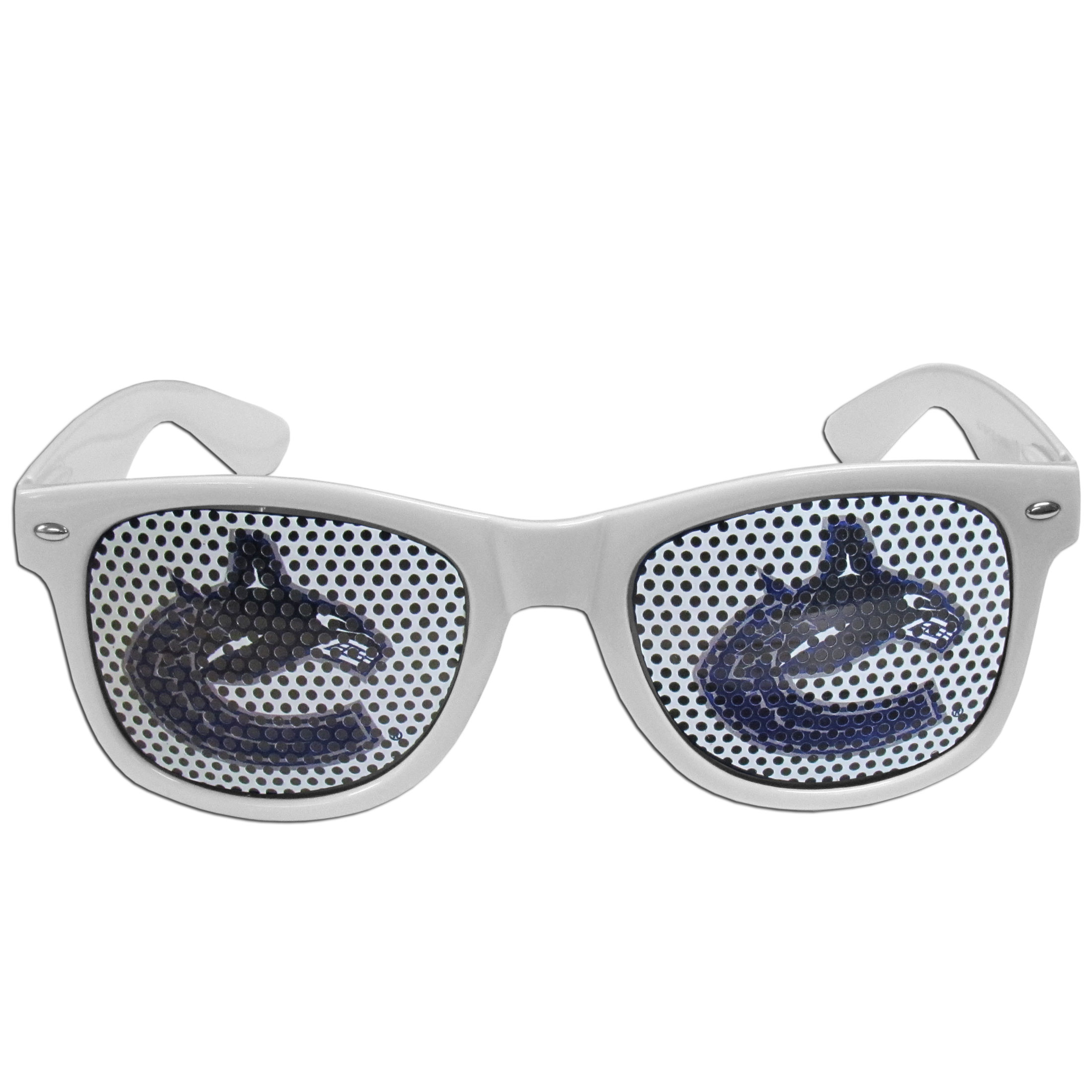 Vancouver Canucks Game Day Shades - Officially licensed Vancouver Canucks game day shades are the perfect accessory for the devoted Vancouver Canucks fan! The Vancouver Canucks game day shades have durable polycarbonate frames with flex hinges for comfort and damage resistance. The lenses feature brightly colored Vancouver Canucks game day shades clings that are perforated for visibility.