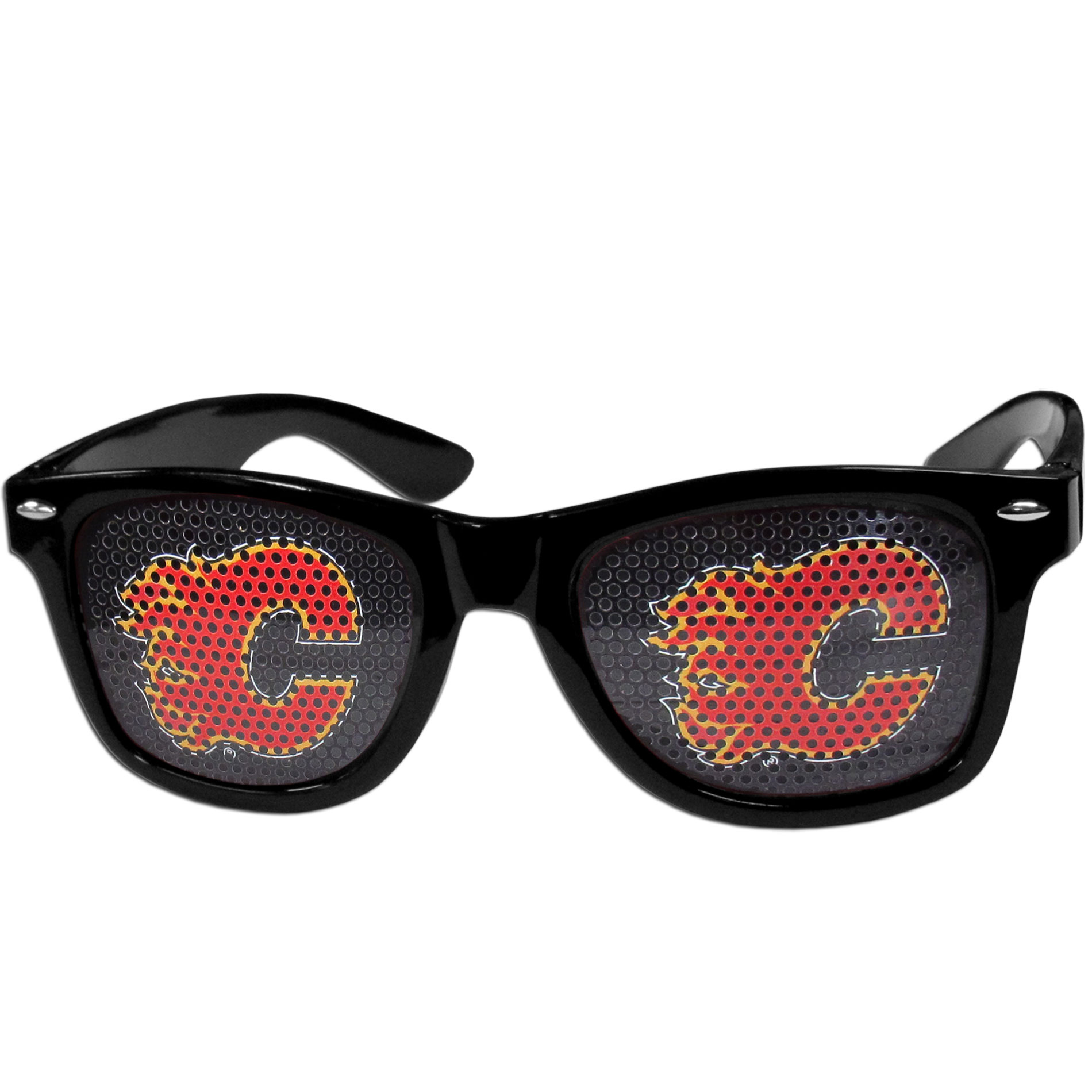 Calgary Flames Game Day Shades - Officially licensed Calgary Flames game day shades are the perfect accessory for the devoted Calgary Flames fan! The Calgary Flames game day shades have durable polycarbonate frames with flex hinges for comfort and damage resistance. The lenses feature brightly colored Calgary Flames clings that are perforated for visibility. Thank you for visiting CrazedOutSports