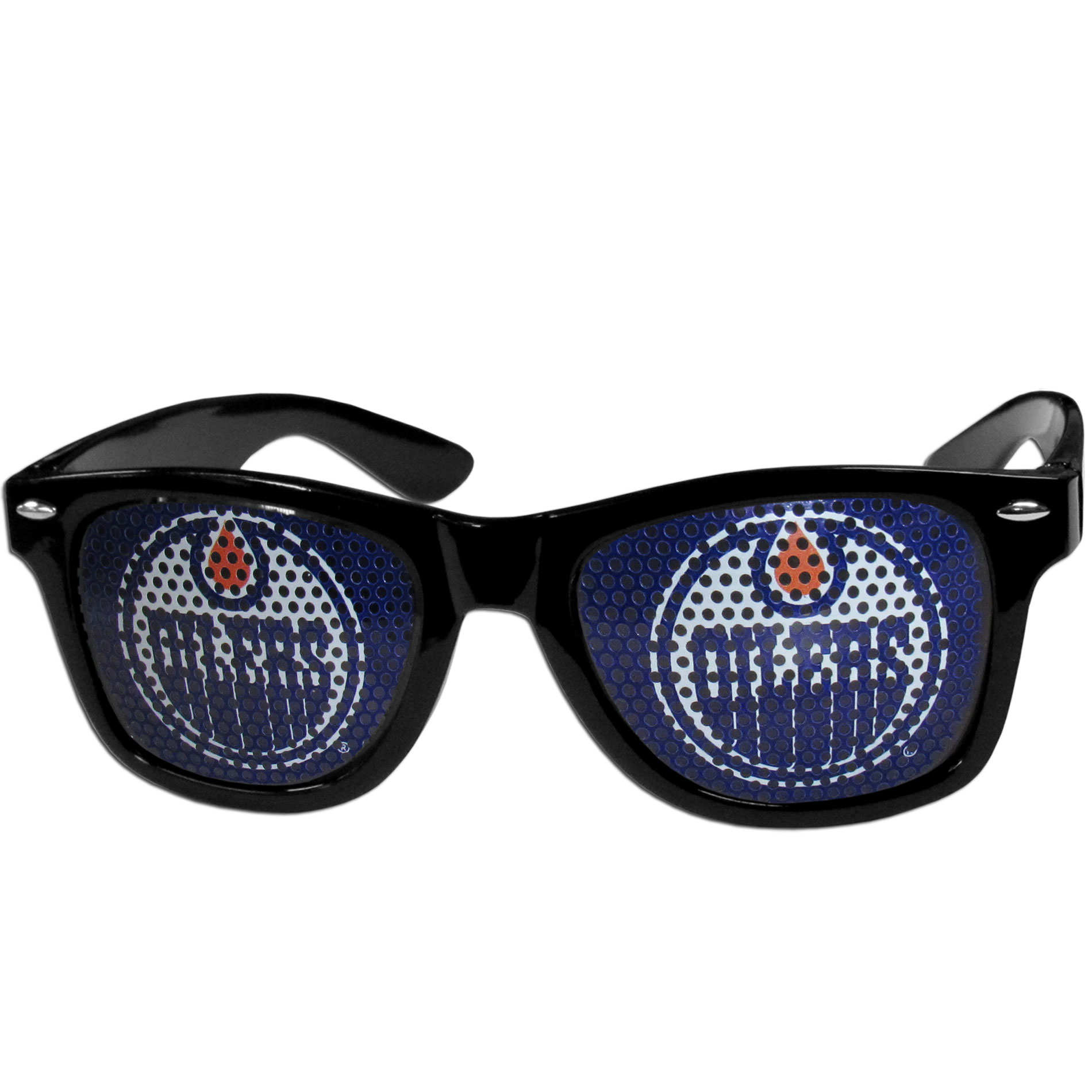 Edmonton Oilers Game Day Shades - Officially licensed Edmonton Oilers game day shades are the perfect accessory for the devoted Edmonton Oilers fan! The Edmonton Oilers game day shades have durable polycarbonate frames with flex hinges for comfort and damage resistance. The lenses feature brightly colored Edmonton Oilers clings that are perforated for visibility.