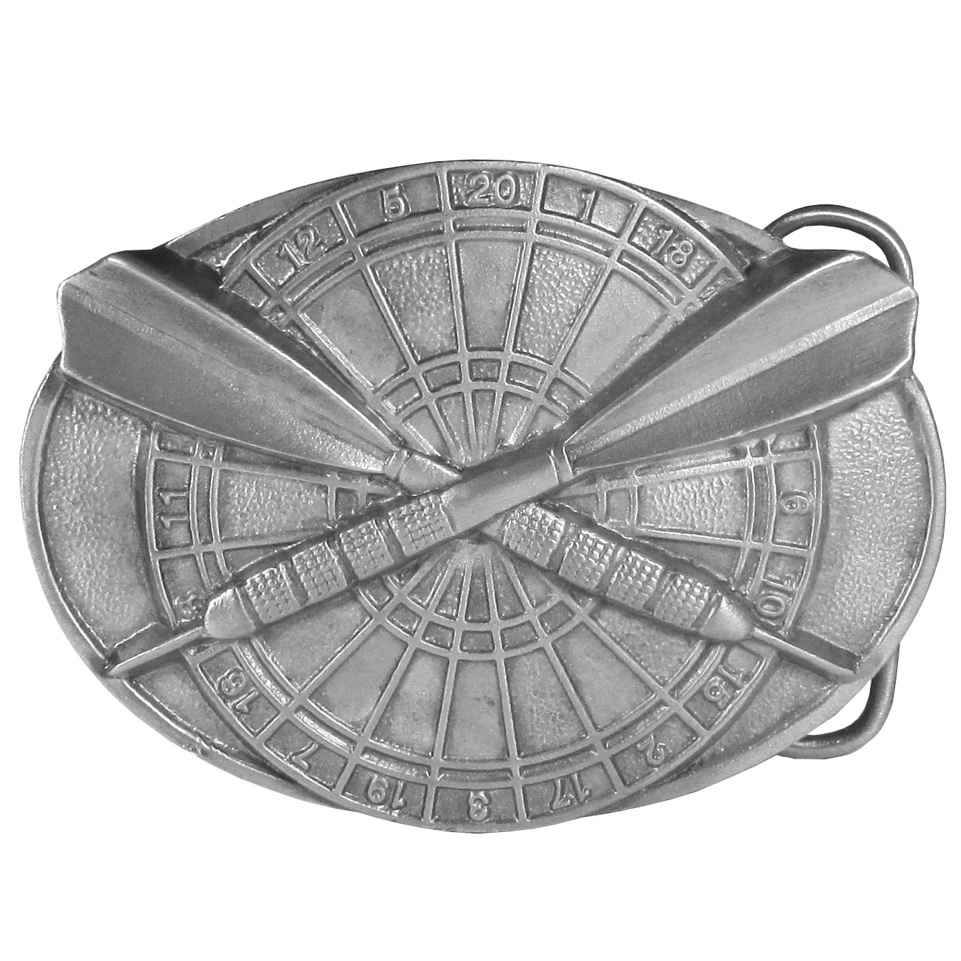 Darts Buckle Antiqued Belt Buckle - This finely sculpted belt buckle contains exceptional 3D detailing. Siskiyou's unique buckle designs often become collector's items and are unequaled with the best craftsmanship.